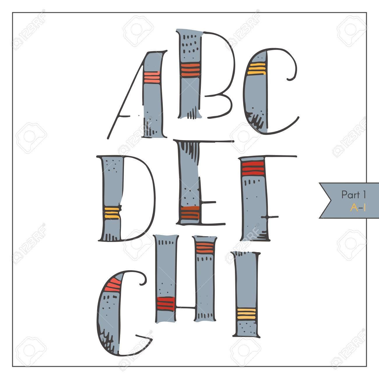 Anglais Hand Alphabet Dessiné Génial, Décoré Et Coloré Pour Le Lettrage Ou  Le Design. Coups Rouge Et Jaune Sur Bleu Décoration, Éclos Et En à Alphabet En Pointillé A Imprimer