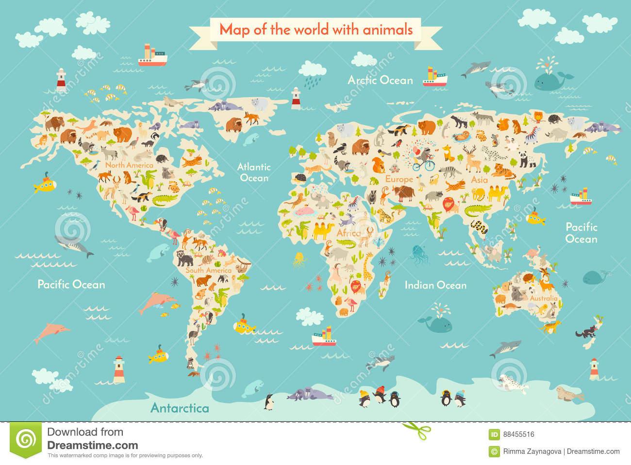 Animal De Carte Pour L'enfant Illustration De Vecteur à Carte Europe Enfant