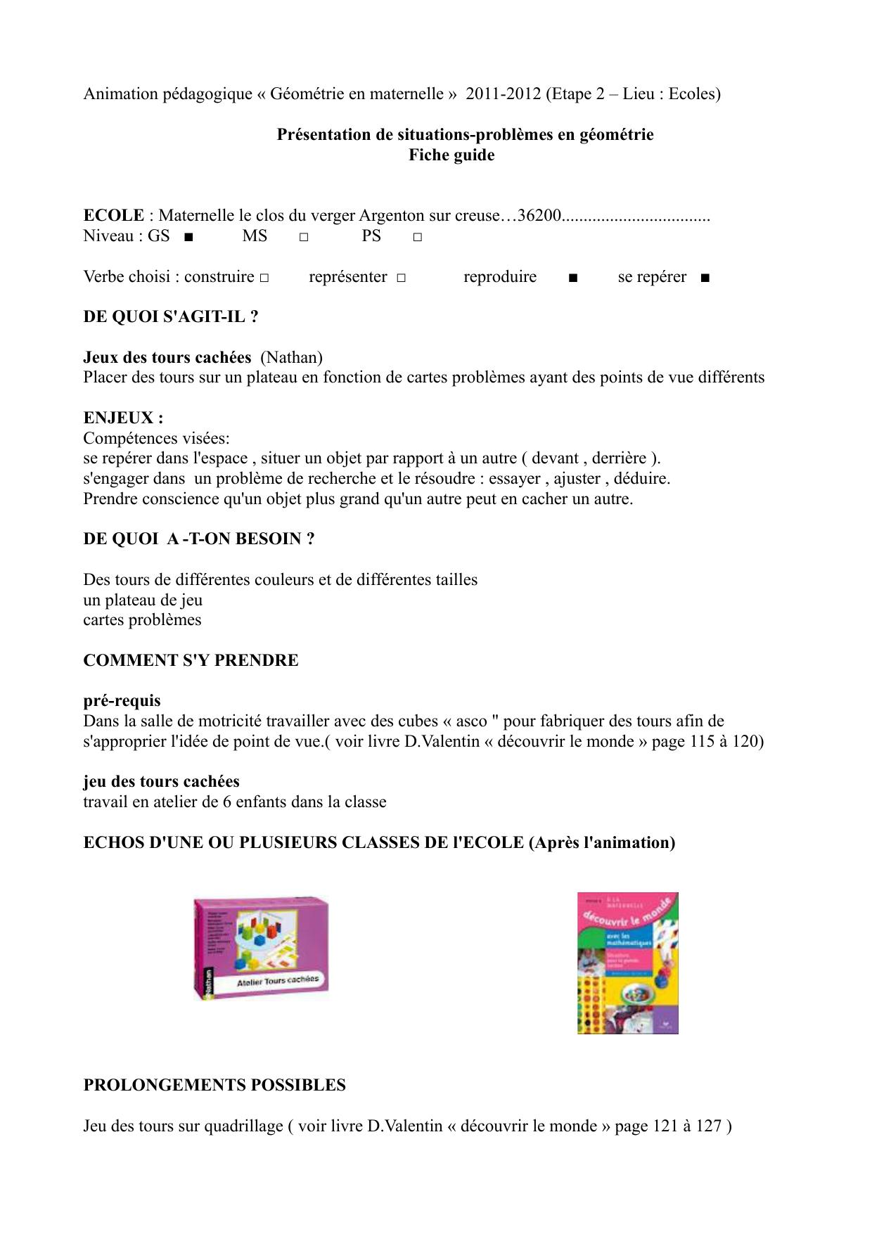 Animation Pédagogique « Géométrie En Maternelle » 2011-2012 avec Jeux Pedagogique Maternelle