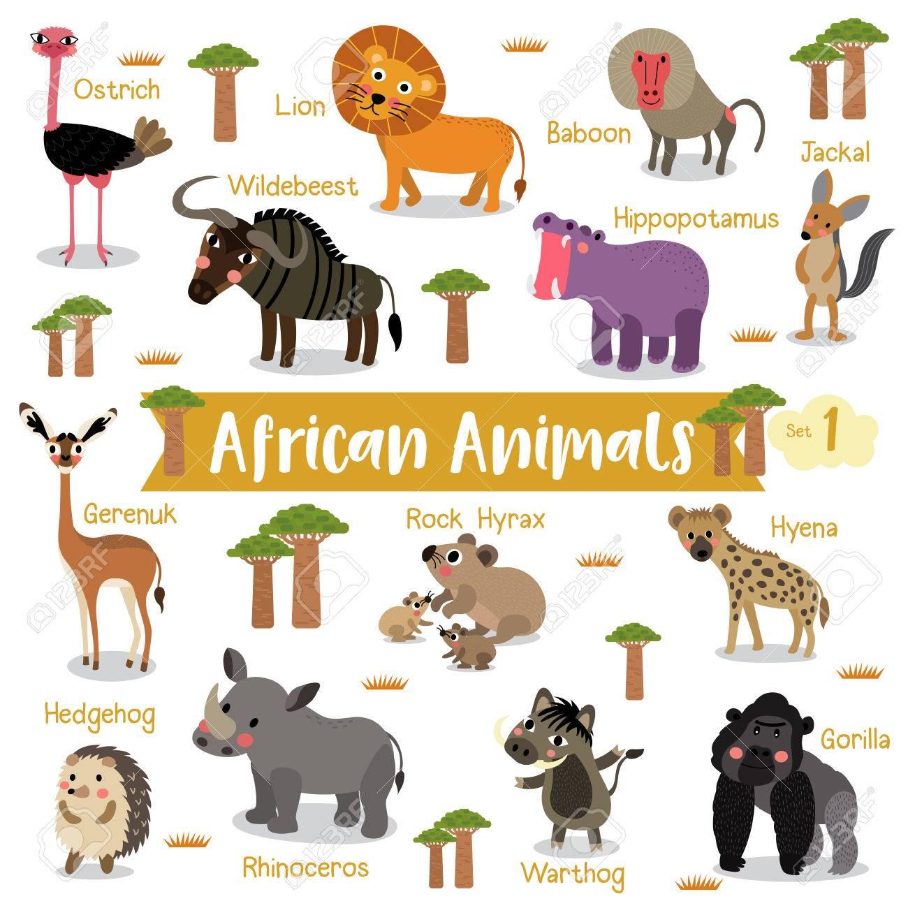 Animaux Africains Dessin Animé Sur Fond Blanc Avec Le Nom De L'animal,  Illustration Vectorielle. Set 1. serapportantà Apprendre Le Nom Des Animaux