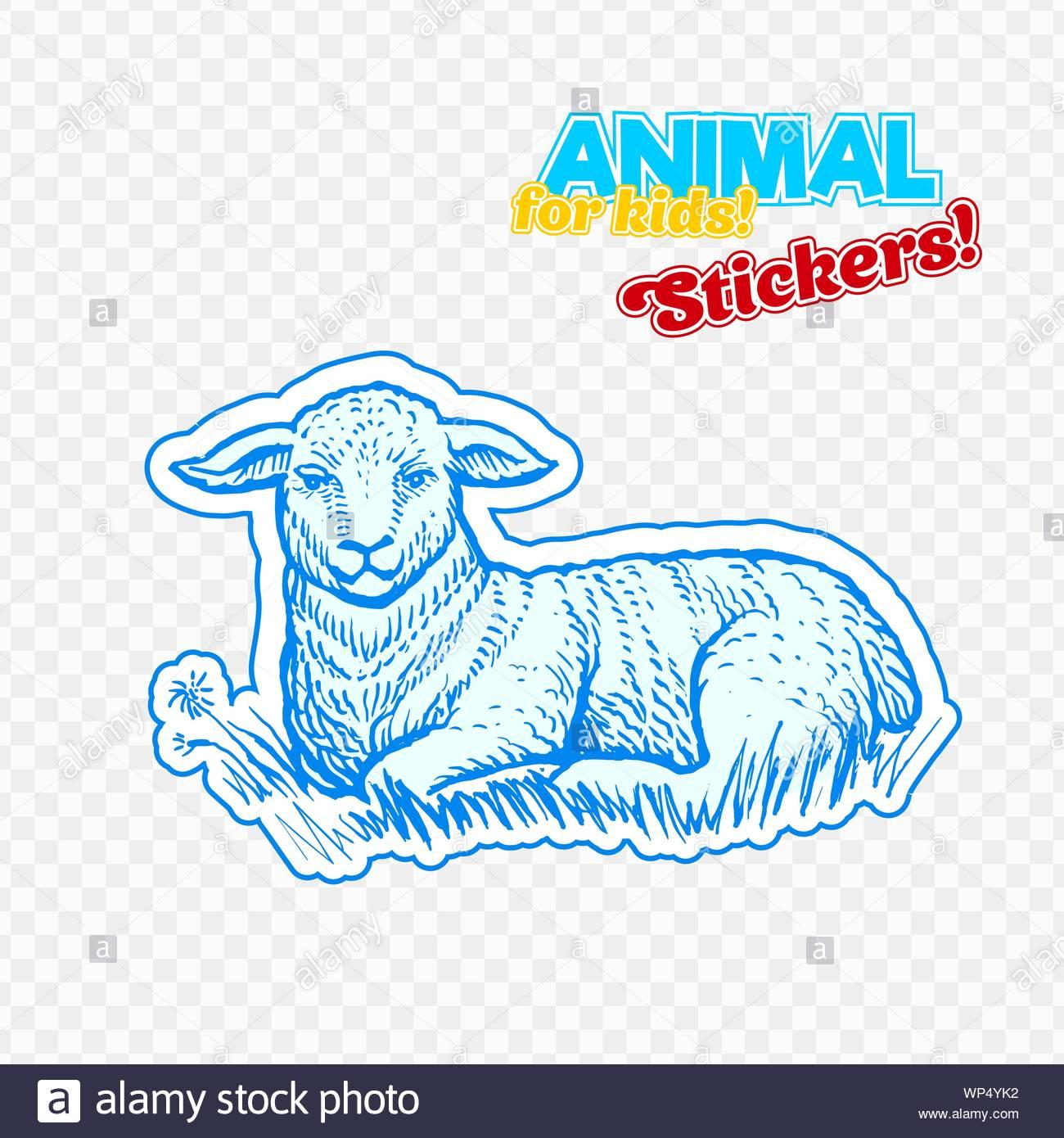 Animaux De Ferme Dans L'agneau Style Croquis Sur Autocollant concernant Decoupage Pour Enfant