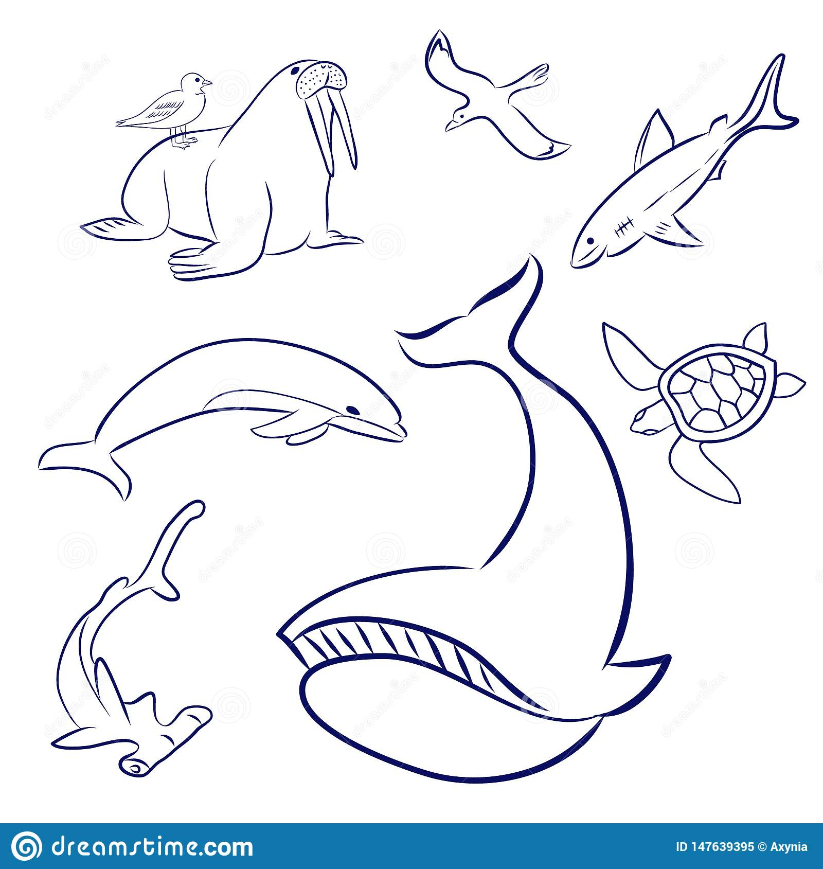 Animaux De Mer De Bande Dessin?e R?gl?s Baleine, Tortue concernant Dessin Dauphin A Imprimer