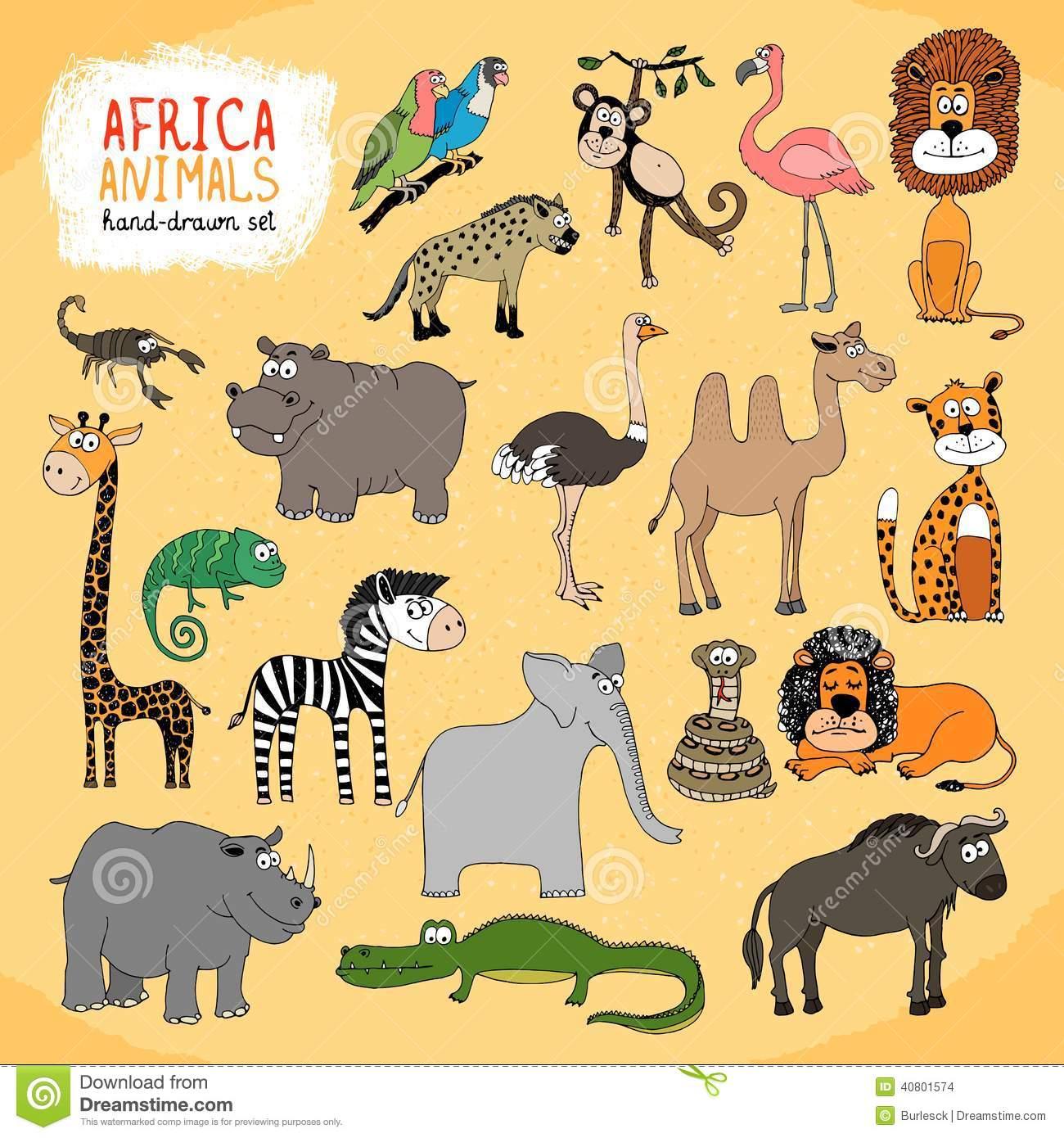 Animaux D'illustration Tirée Par La Main De L'afrique destiné Les Animaux De L Afrique