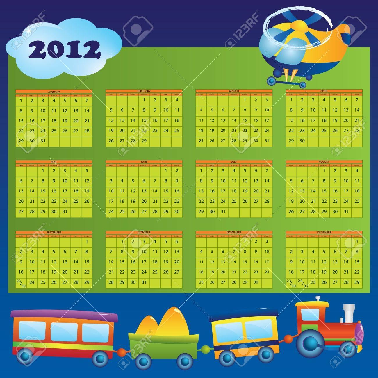 Année 2012 Calendrier Pour Les Enfants. Premier Jour Du Début De La Semaine  Le Dimanche. avec Calendrier Enfant Semaine