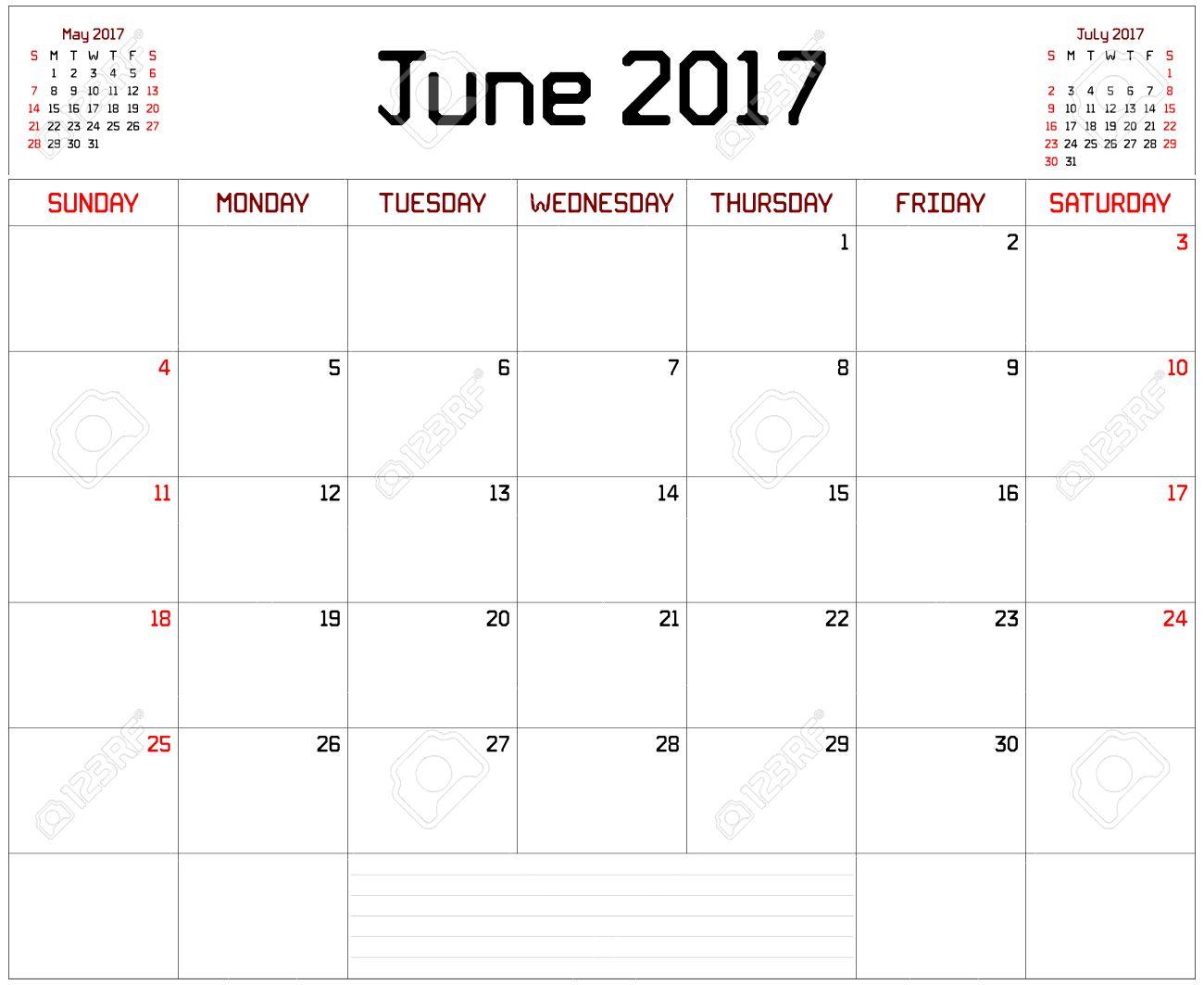 Année 2017 Juin Planner - Un Calendrier De Planification Mensuelle Pour  Juin 2017 Sur Blanc. Une Ligne Droite Personnalisée Police Épaisse Est concernant Calendrier 2017 En Ligne