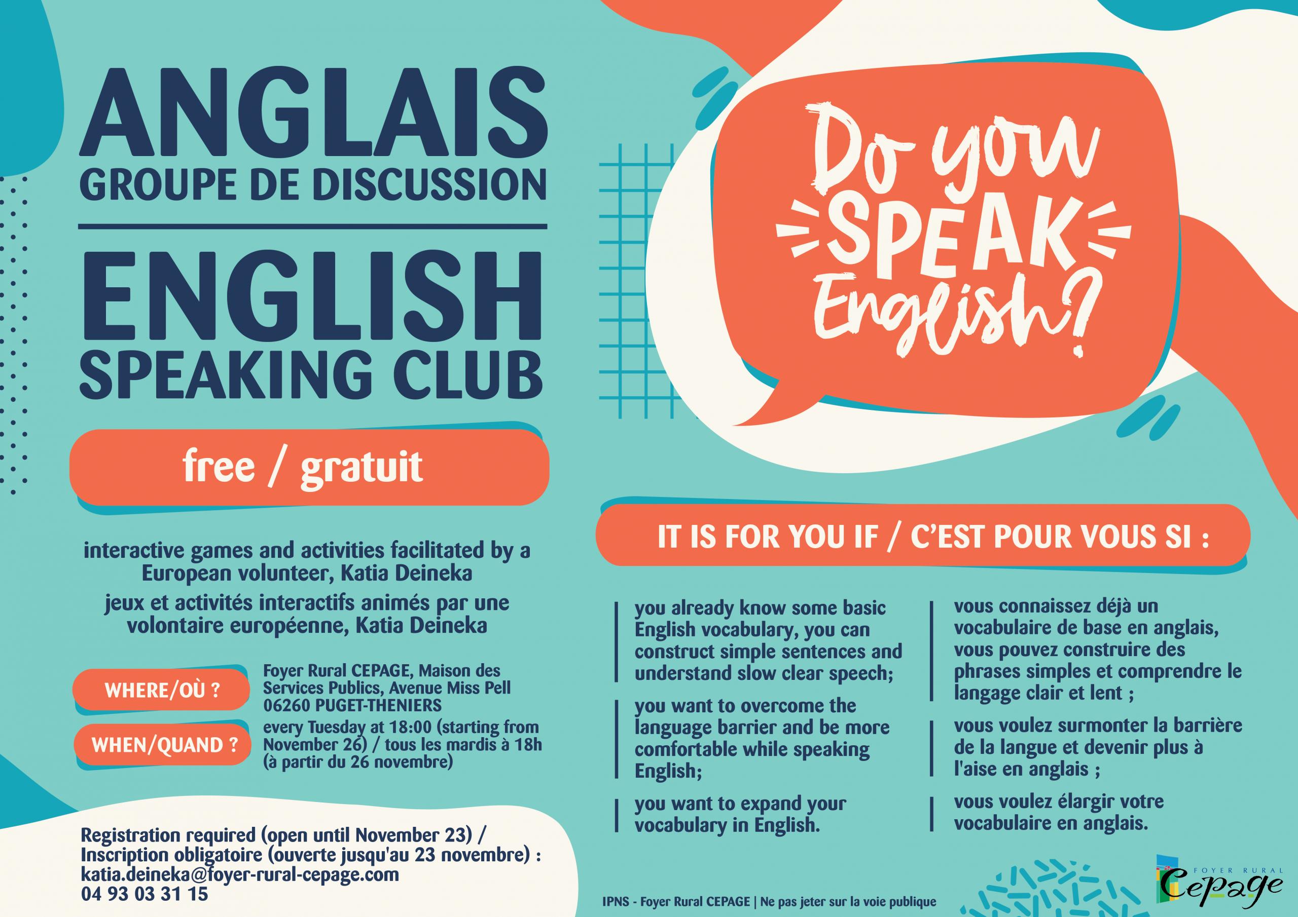 Annonce : Groupe De Discussion En Anglais | Foyer Rural Cépage pour Jeux Gratuit Anglais