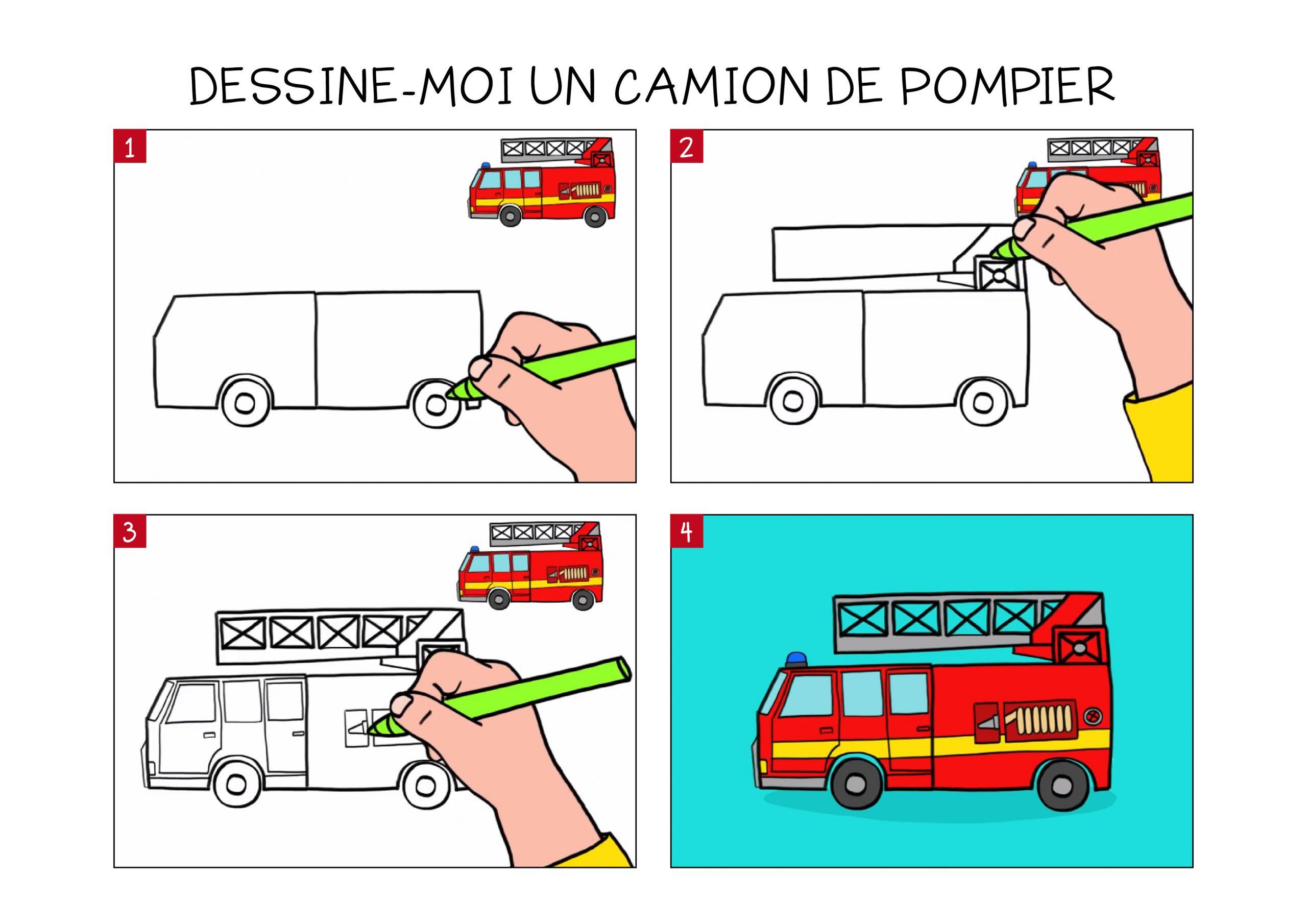 Apprendre À Dessiner Un Camion De Pompier En 3 Étapes intérieur Dessin De Pompier À Imprimer