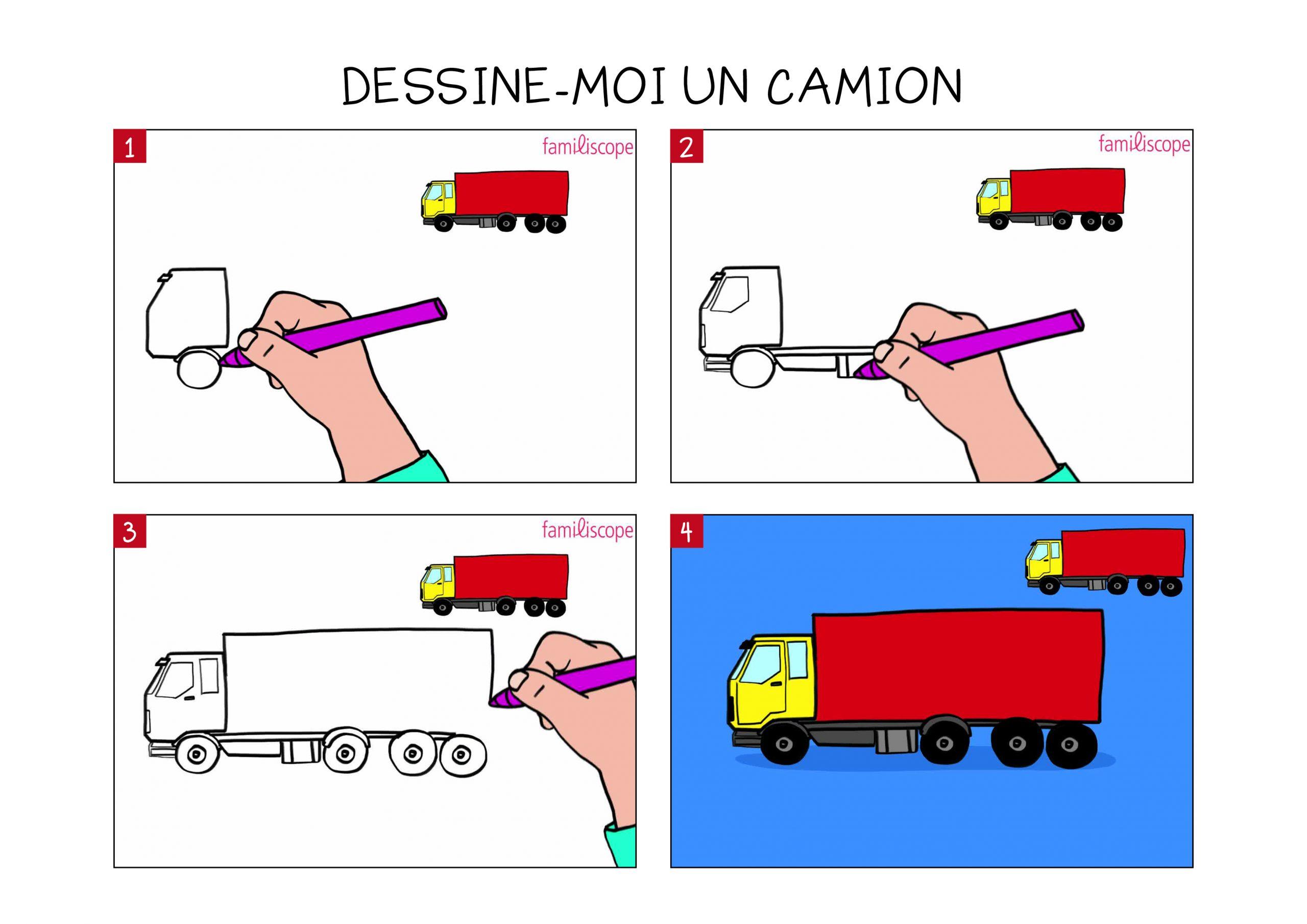 Apprendre À Dessiner Un Camion En 3 Étapes tout Dessin D Un Camion