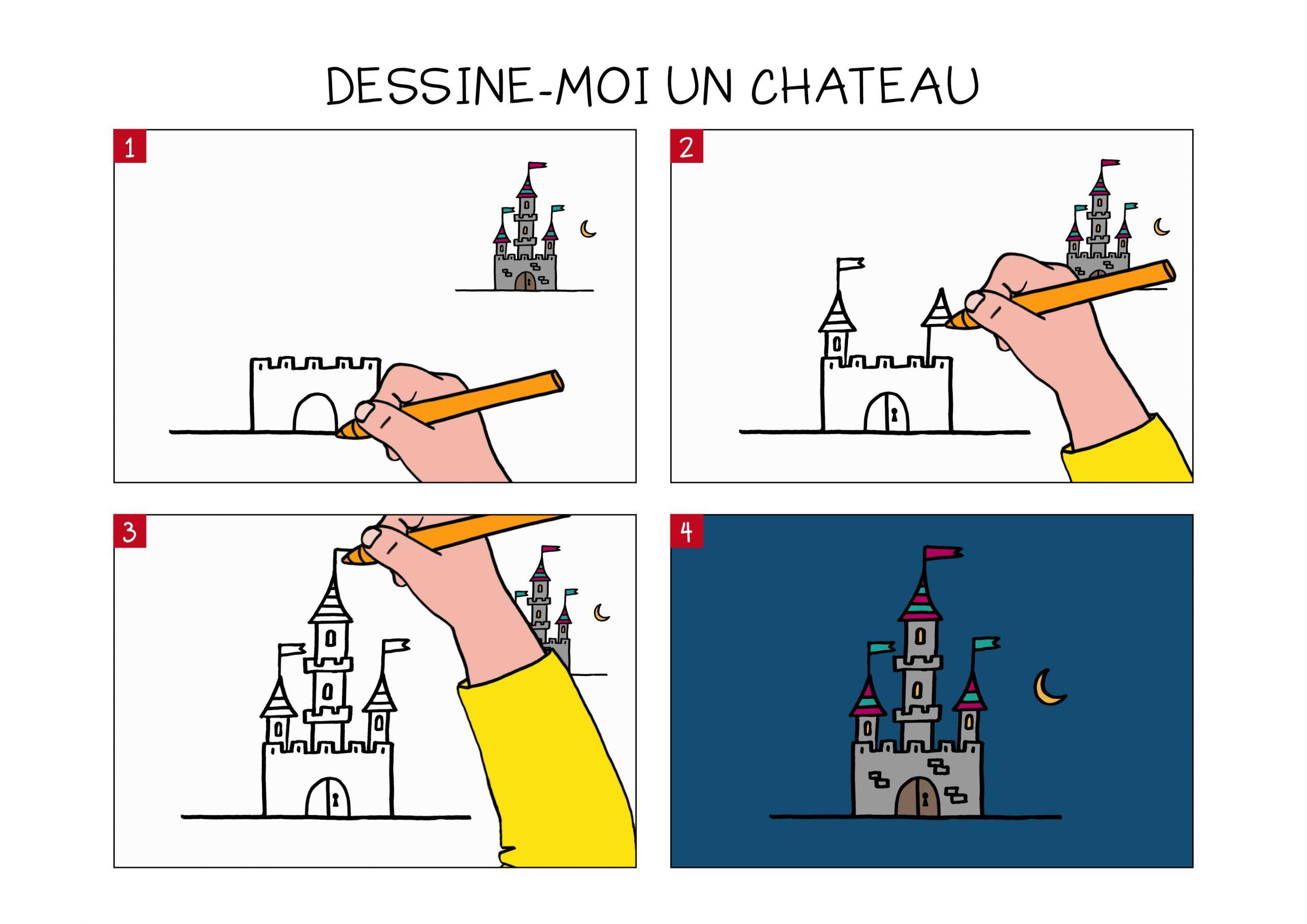Apprendre À Dessiner Un Château En 3 Étapes à Dessin Chateau Princesse