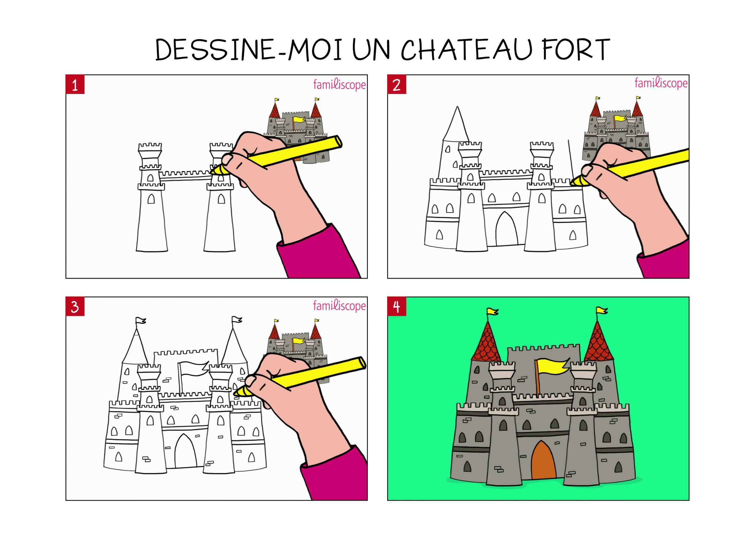 Apprendre À Dessiner Un Château Fort En 3 Étapes pour Image De Chateau Fort A Imprimer