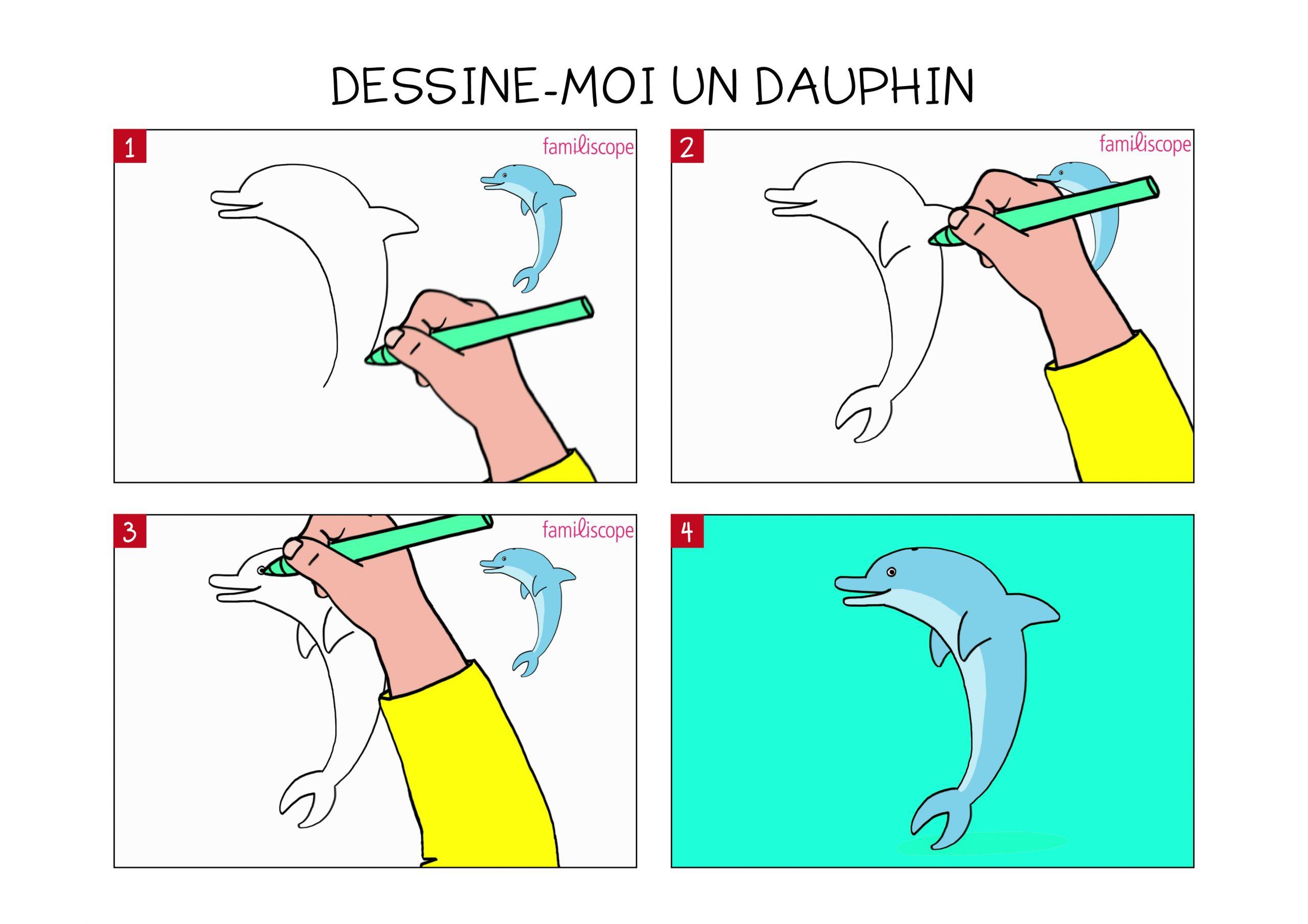 Apprendre À Dessiner Un Dauphin En 3 Étapes à Dessin Dauphin À Imprimer