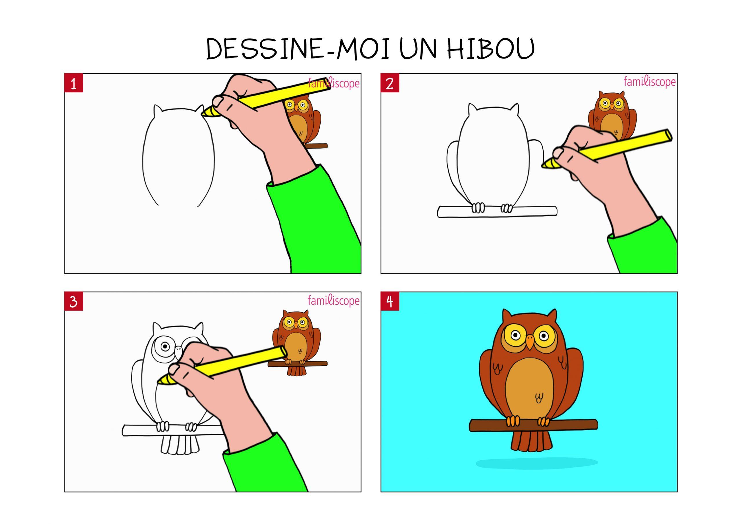 Apprendre À Dessiner Un Hibou En 3 Étapes avec Dessin Hibou Facile