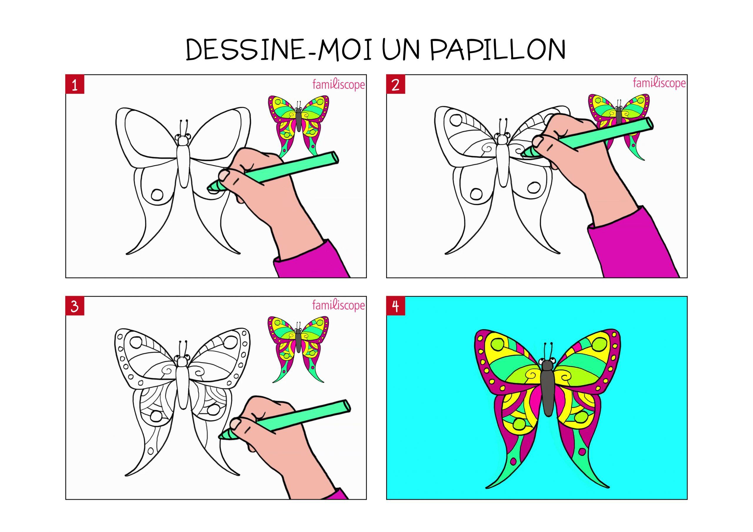 Apprendre À Dessiner Un Papillon En 3 Étapes à Papillon À Dessiner
