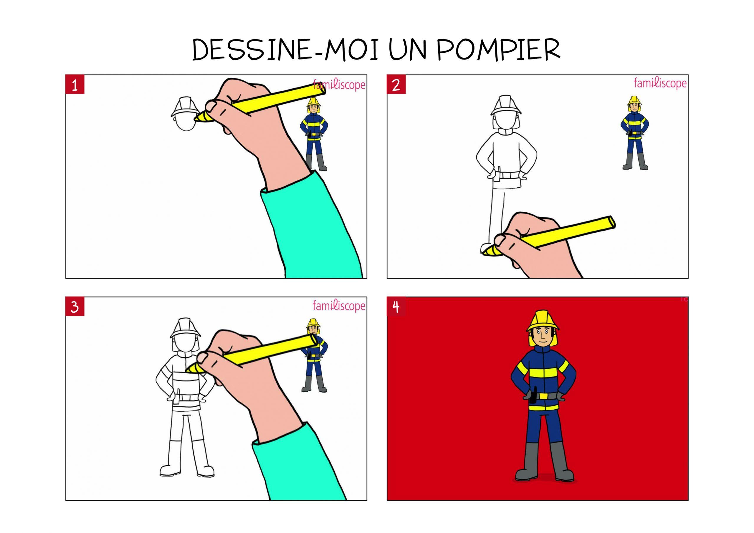 Apprendre À Dessiner Un Pompier En 3 Étapes destiné Dessin De Pompier À Imprimer
