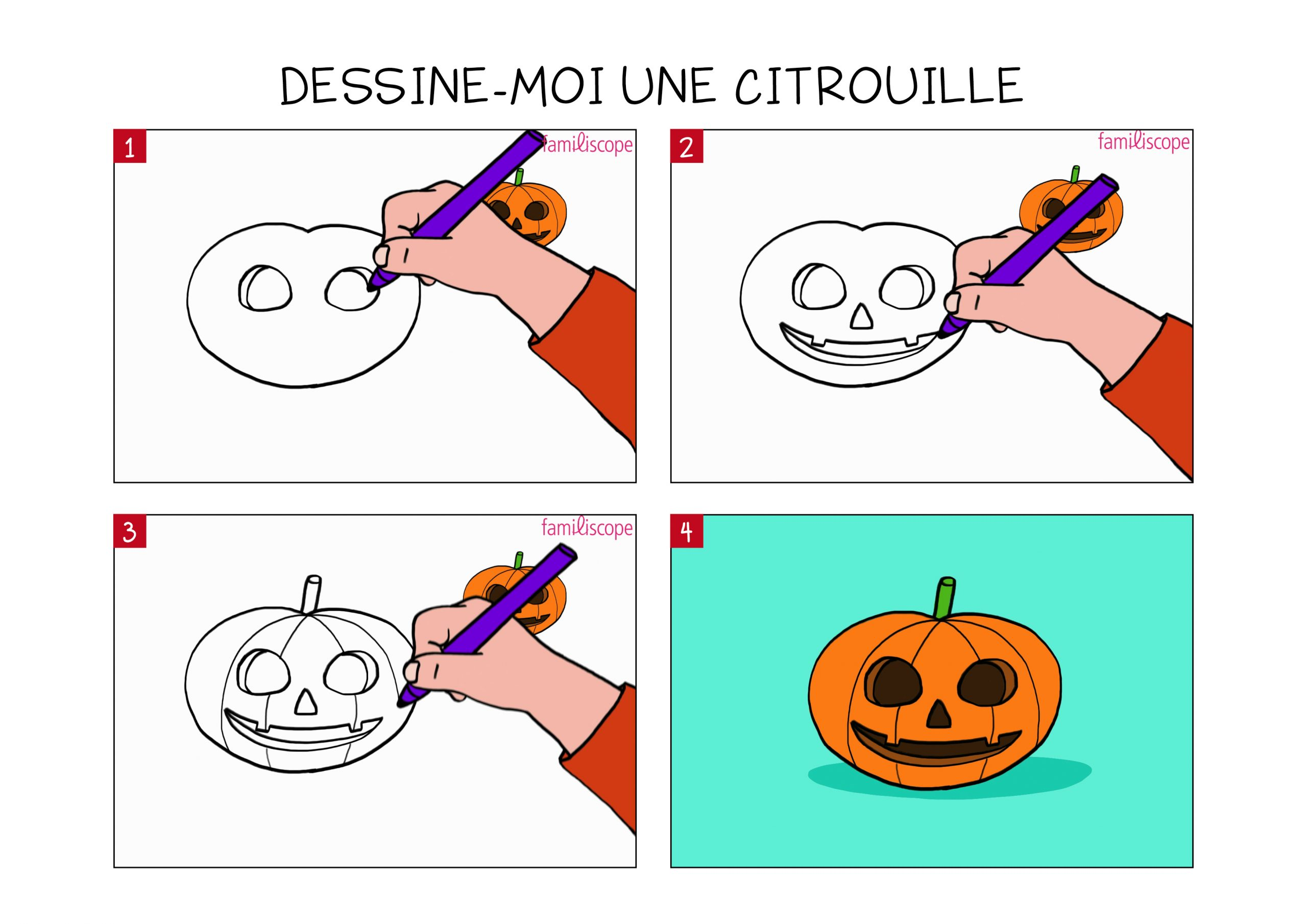Apprendre À Dessiner Une Citrouille En 3 Étapes à Dessin D Halloween Facile A Dessiner