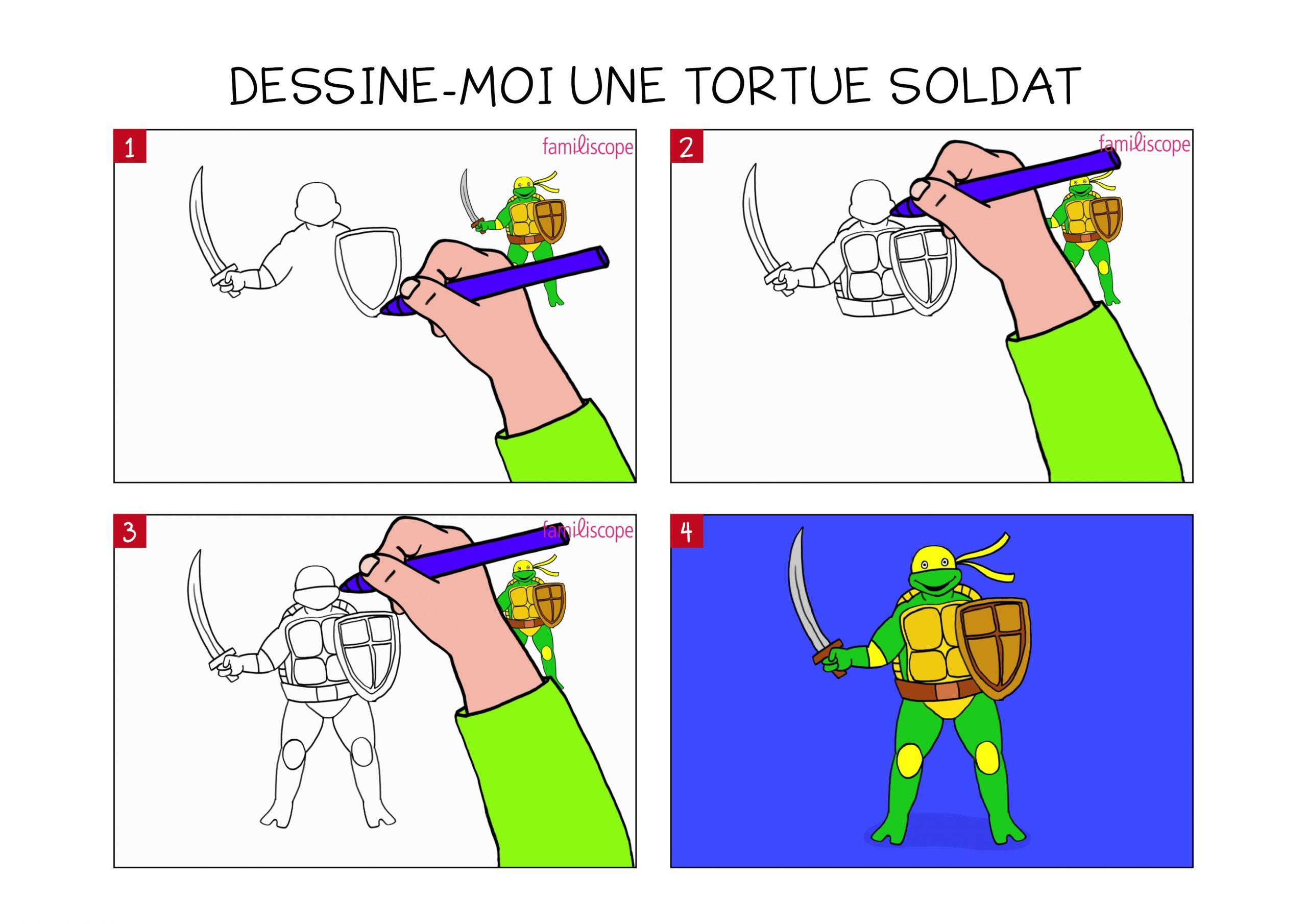 Apprendre À Dessiner Une Tortue Soldat En 3 Étapes à Dessiner Une Tortue