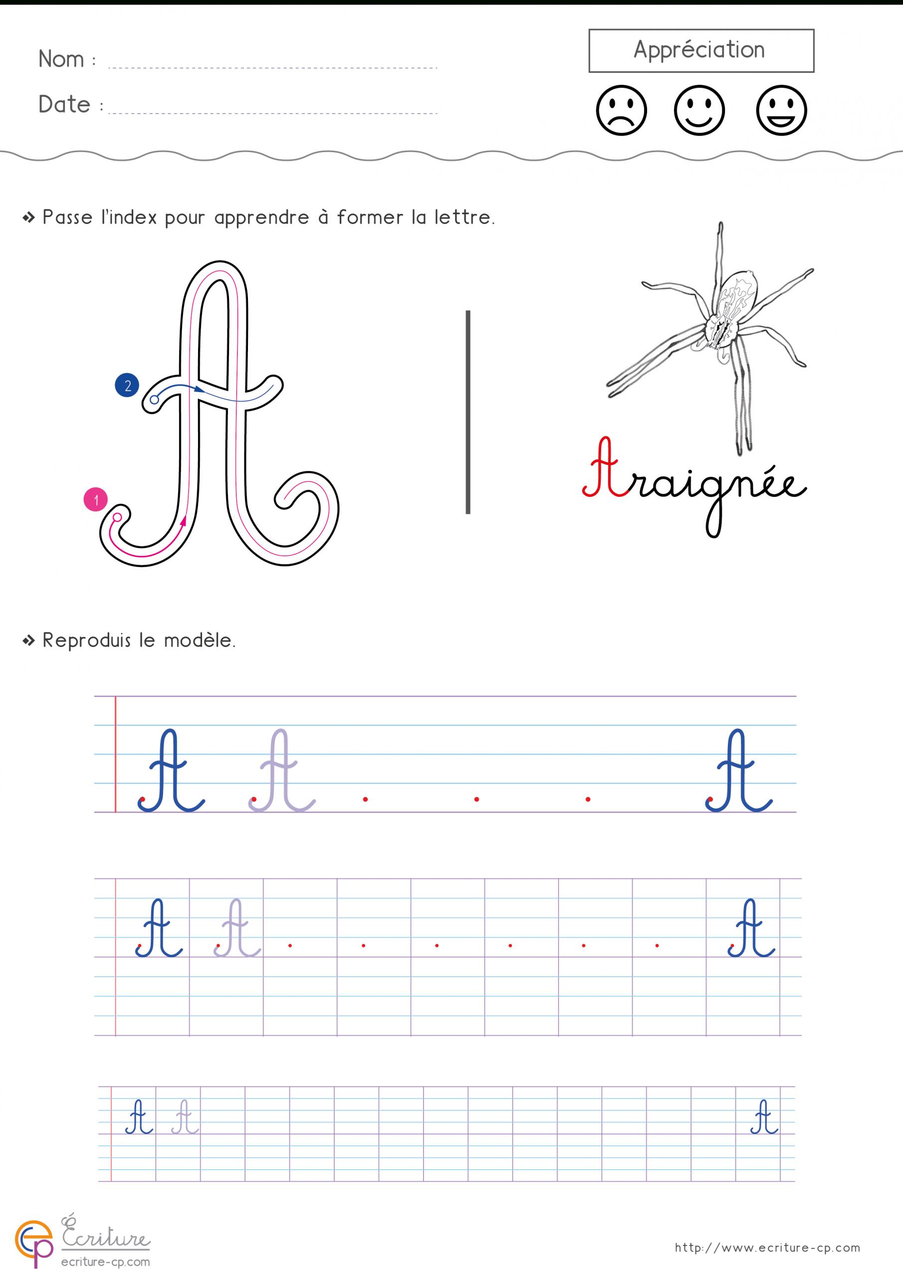 Apprendre À Écrire La Lettre A En Minuscule Et En Majuscule pour Apprendre A Ecrire Les Lettres