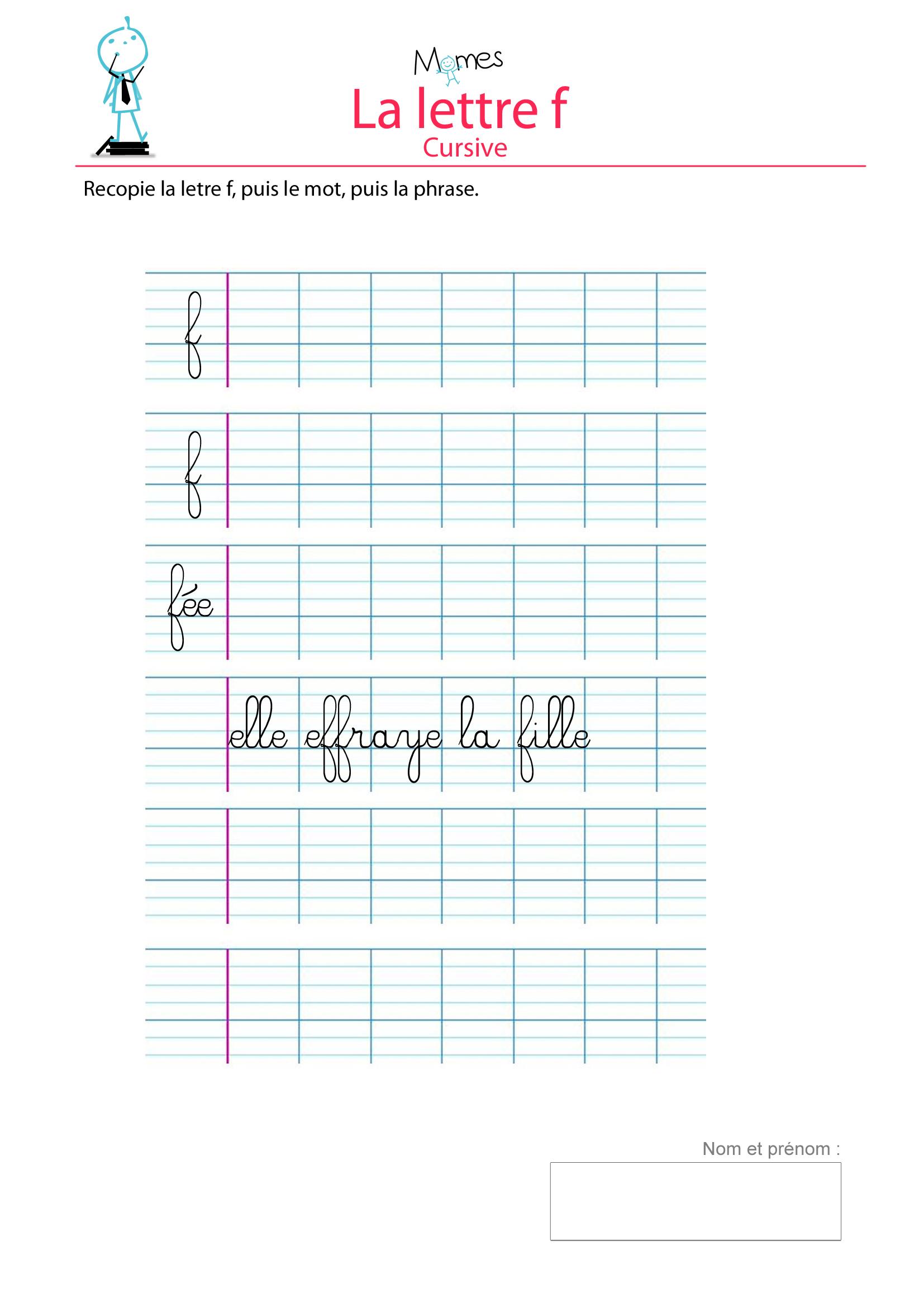 Apprendre À Écrire La Lettre F - Momes destiné Apprendre A Écrire Les Lettres