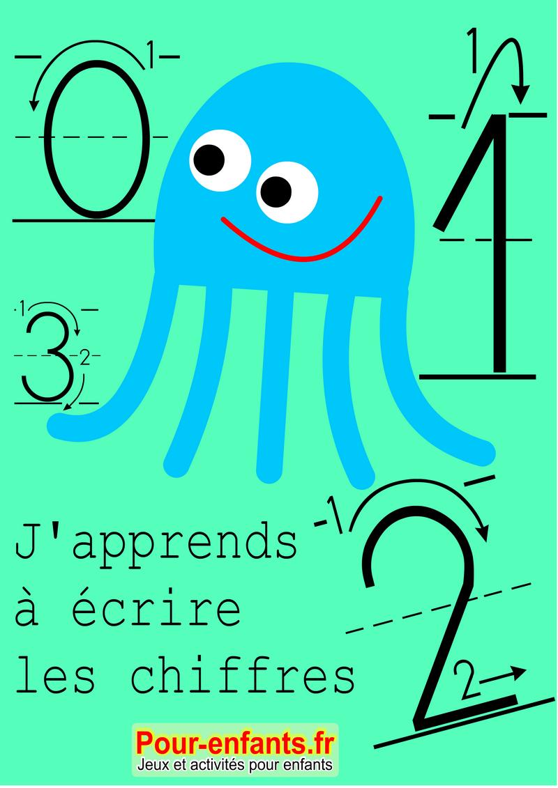 Apprendre À Écrire Les Chiffres En Maternelle. Nombres De 0 À 9. avec Apprendre À Écrire Les Chiffres En Maternelle