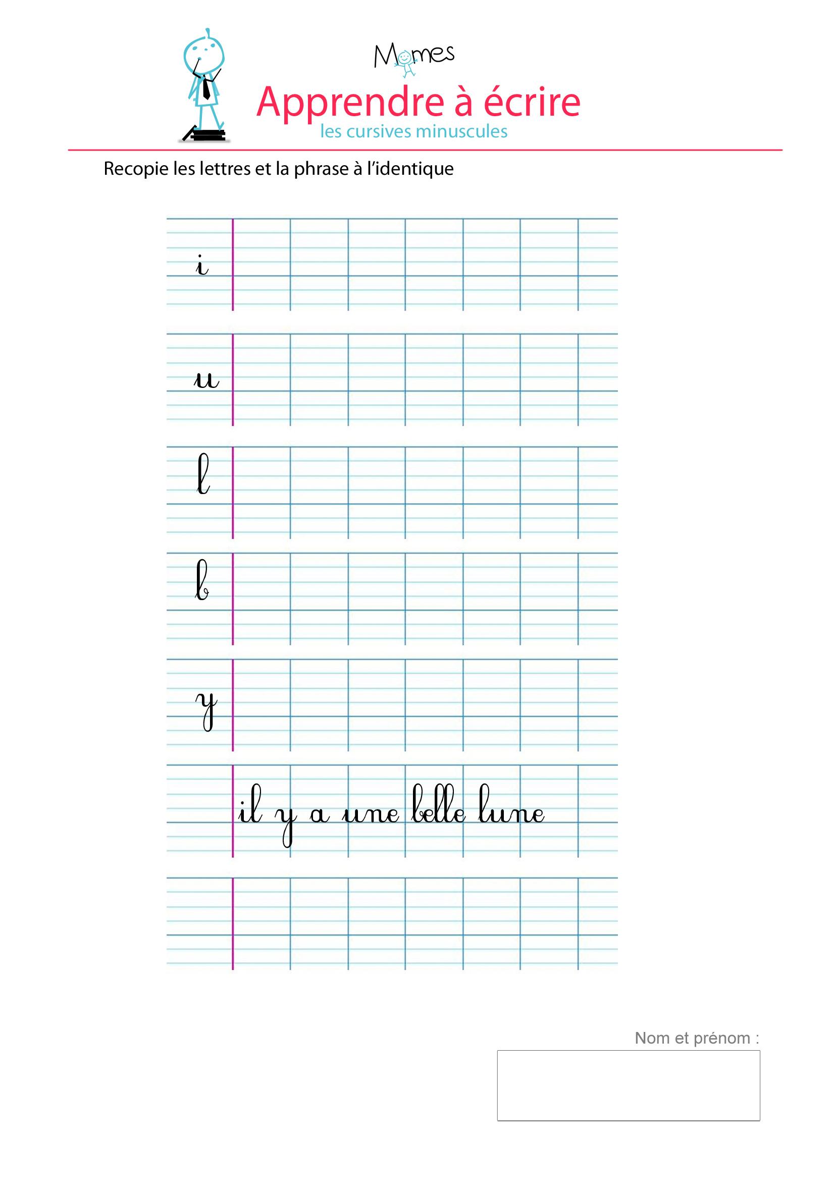 Apprendre À Écrire Les Cursives Minuscules I, U, L, B, Y concernant Apprendre A Ecrire Les Lettres En Minuscule
