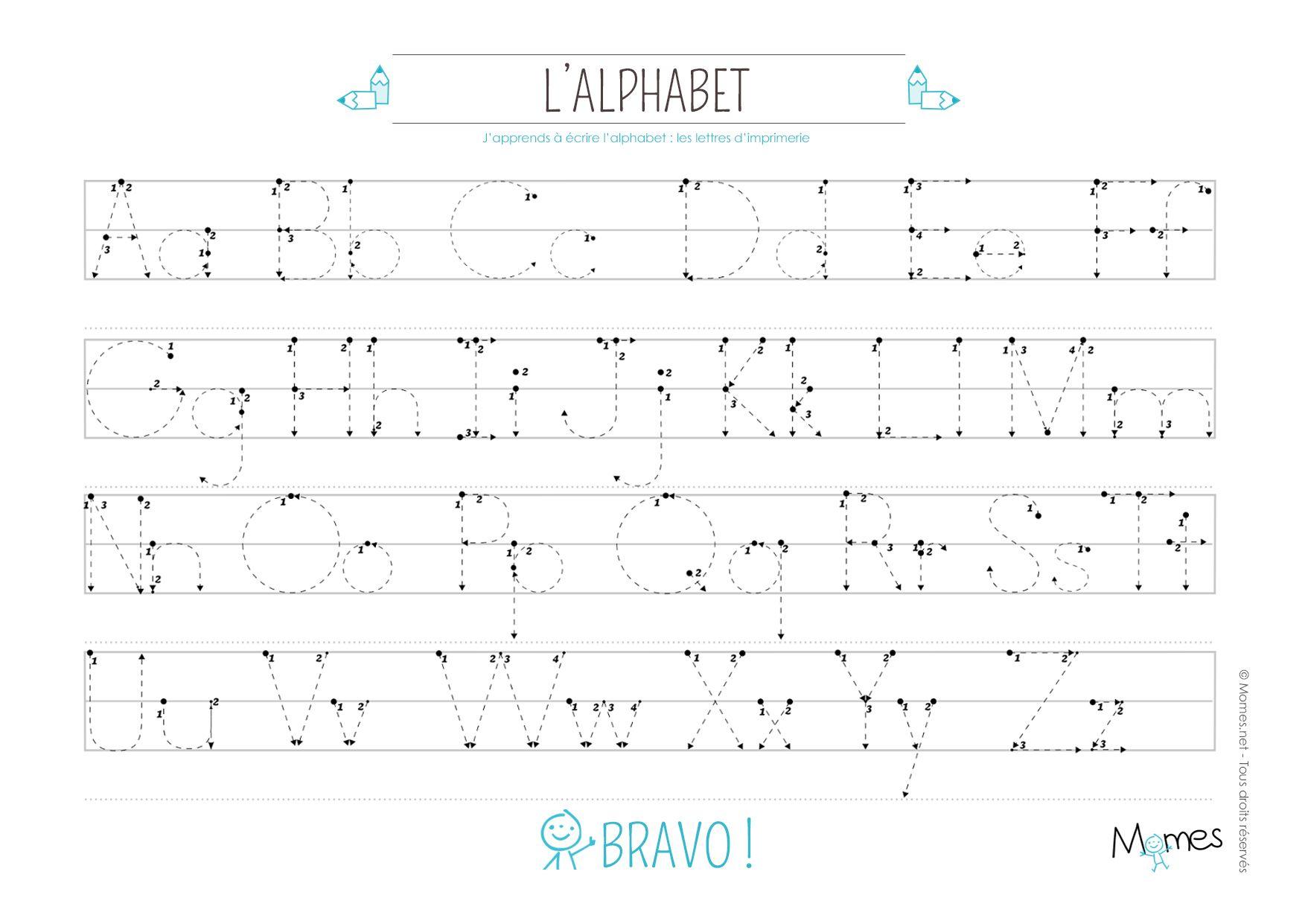 Apprendre À Écrire : Les Lettres En Pointillés | Apprendre à Alphabet Français À Imprimer