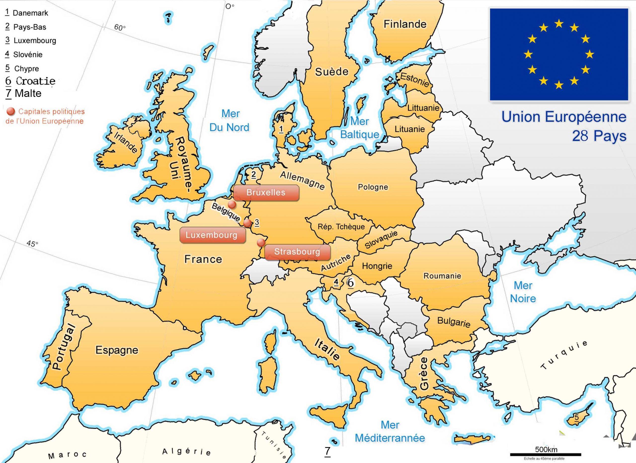 Apprendre À Placer Les Pays De L' Union Européenne - Le Blog encequiconcerne Carte Europe Pays Et Capitale