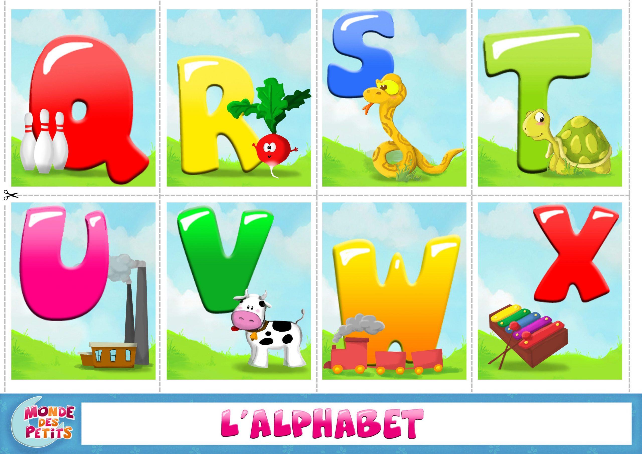 Apprendre-Alphabet-Q-X (3508×2480) | Apprendre L pour Alphabet Français À Imprimer