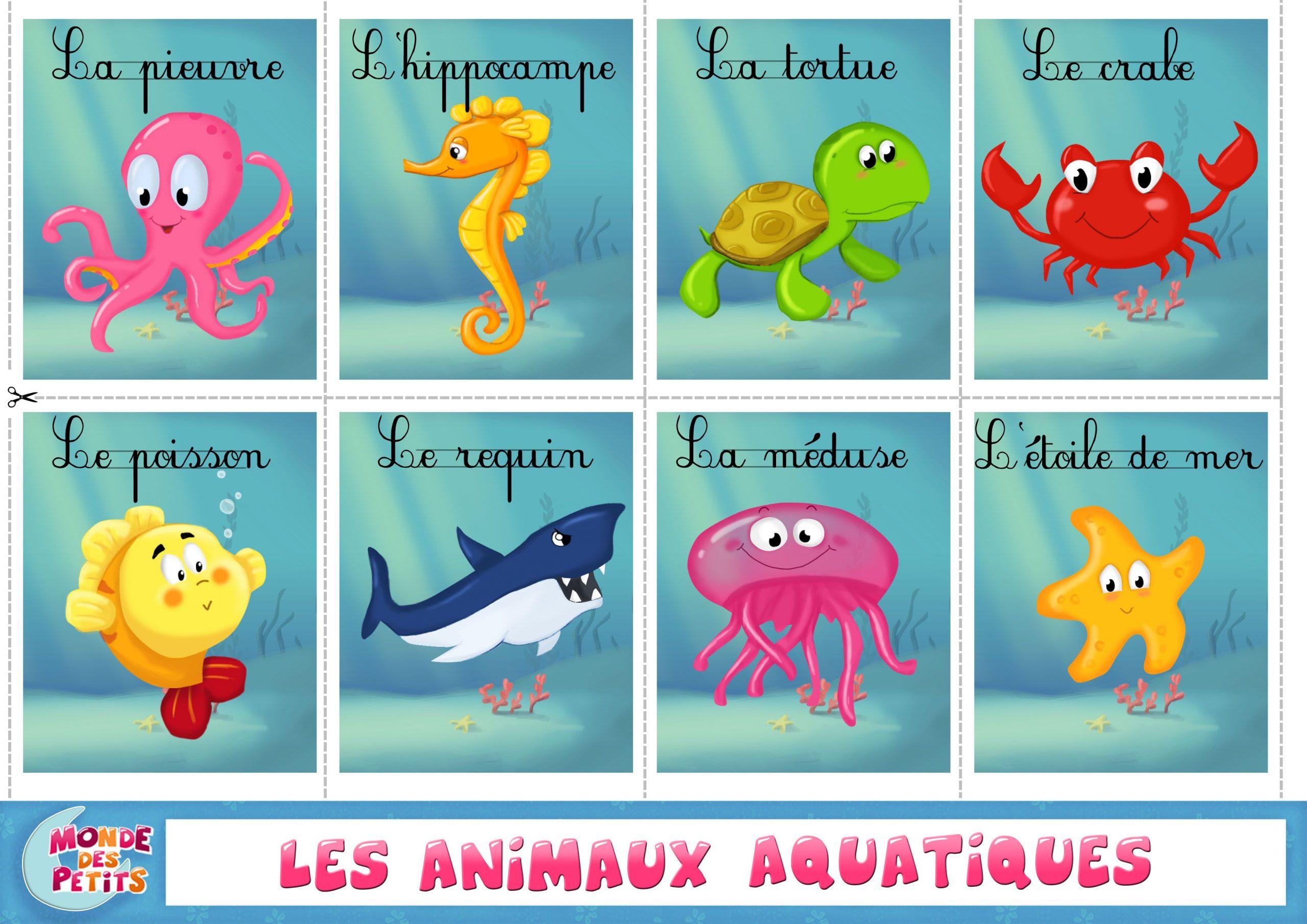 Apprendre-Animaux-Aquatiques-Francais (3508×2480 à Apprendre Les Animaux Pour Bebe