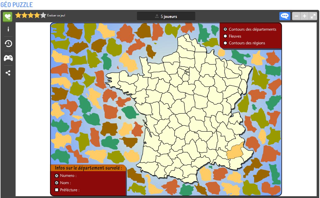 Apprendre La Géographie En S'amusant | Matelem intérieur Puzzle Des Départements Français