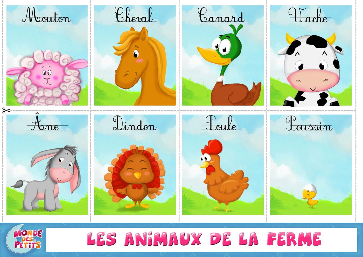 Apprendre Les Animaux De La Ferme: Cartes À Imprimer avec Dessin Animaux De La Ferme À Imprimer
