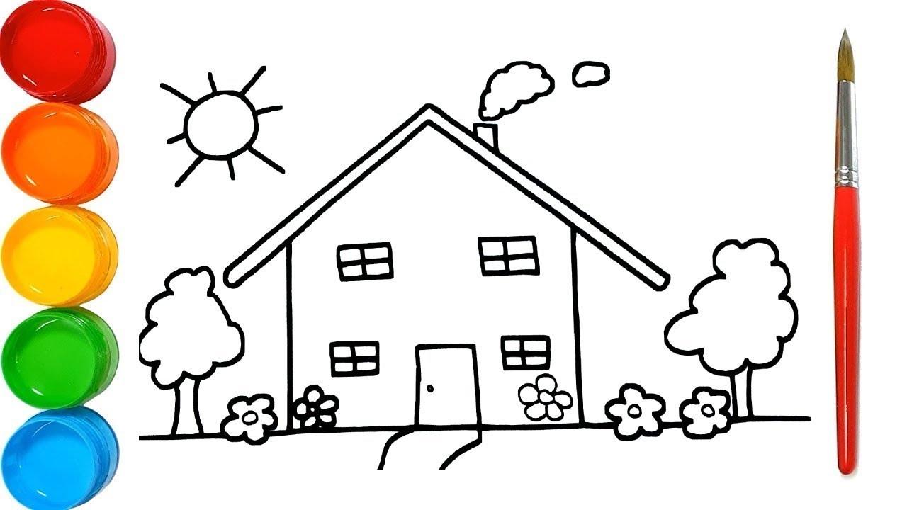 Apprendre Les Couleurs Dessiner Et Colorier Une Maison Pour Enfants &  Planète Coloriage pour Dessin Pour Enfant À Colorier