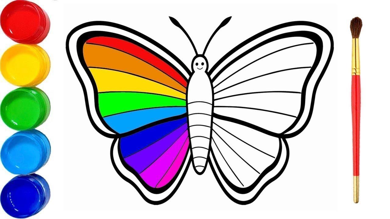 Apprendre Les Couleurs Papillon Apprendre À Dessiner Vidéo Éducative &  Planète Coloriage concernant Dessin Papillon À Colorier
