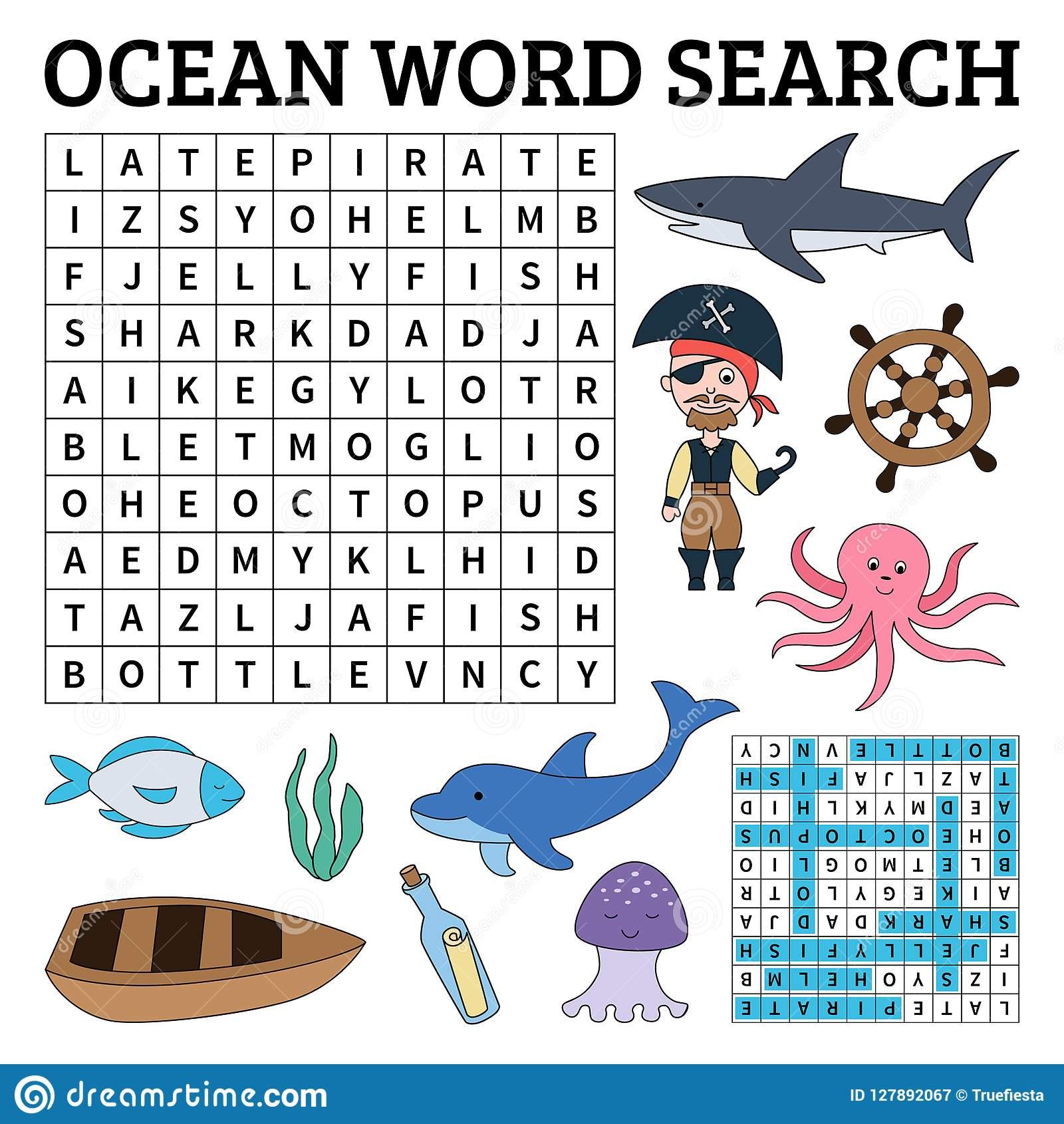 Apprenez L'anglais Avec Le Jeu De Recherche De Mot D'océan avec Jeu De Mot En Anglais