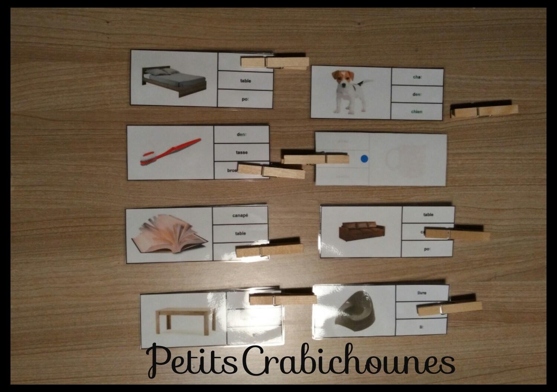 Apprentissage Lecture, Jeux Cartes À Pinces Images Et Mots encequiconcerne Jeux Gratuit De Mots