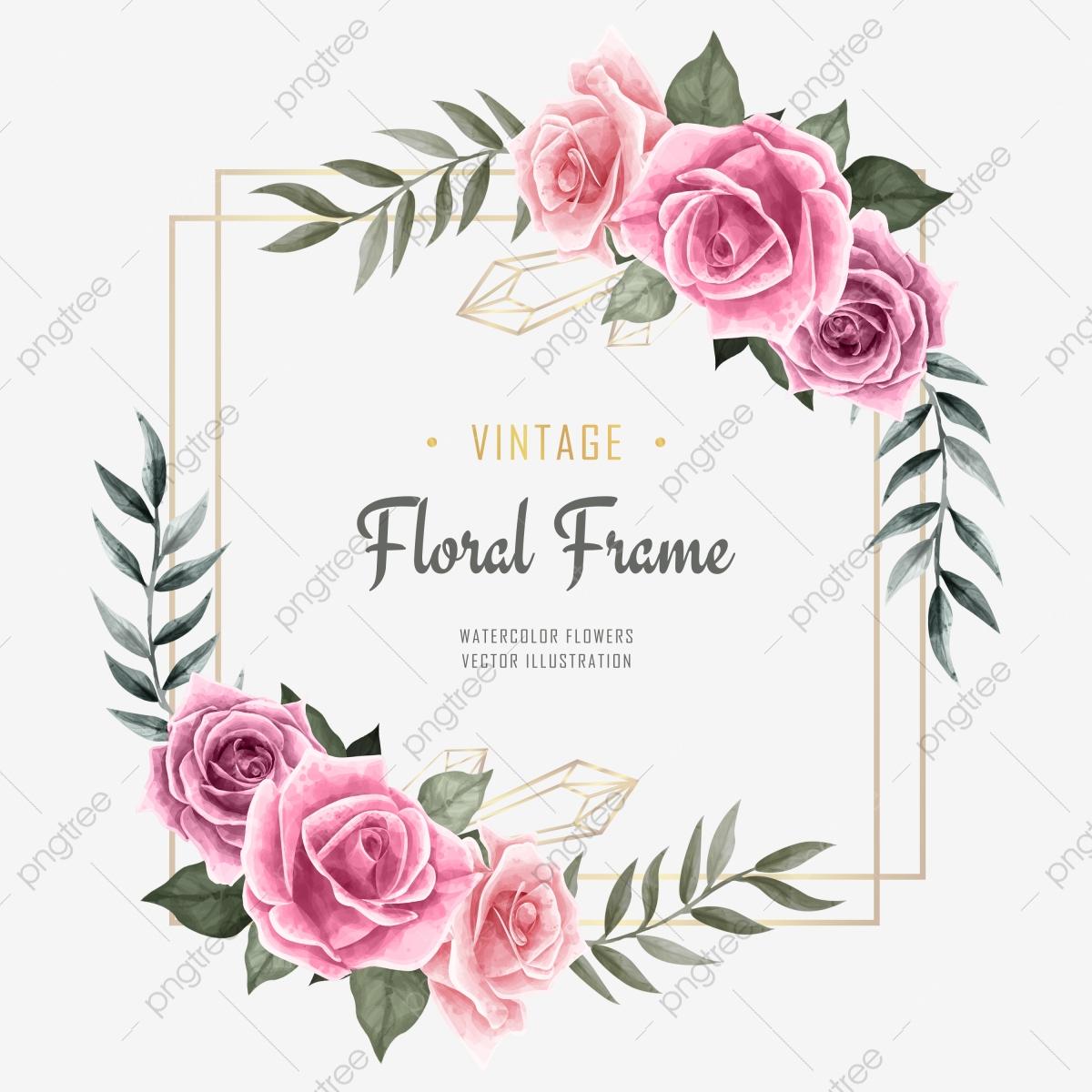 Aquarelle Fleur Floral Cadre Pour Invitation De Mariage encequiconcerne Schéma D Une Fleur