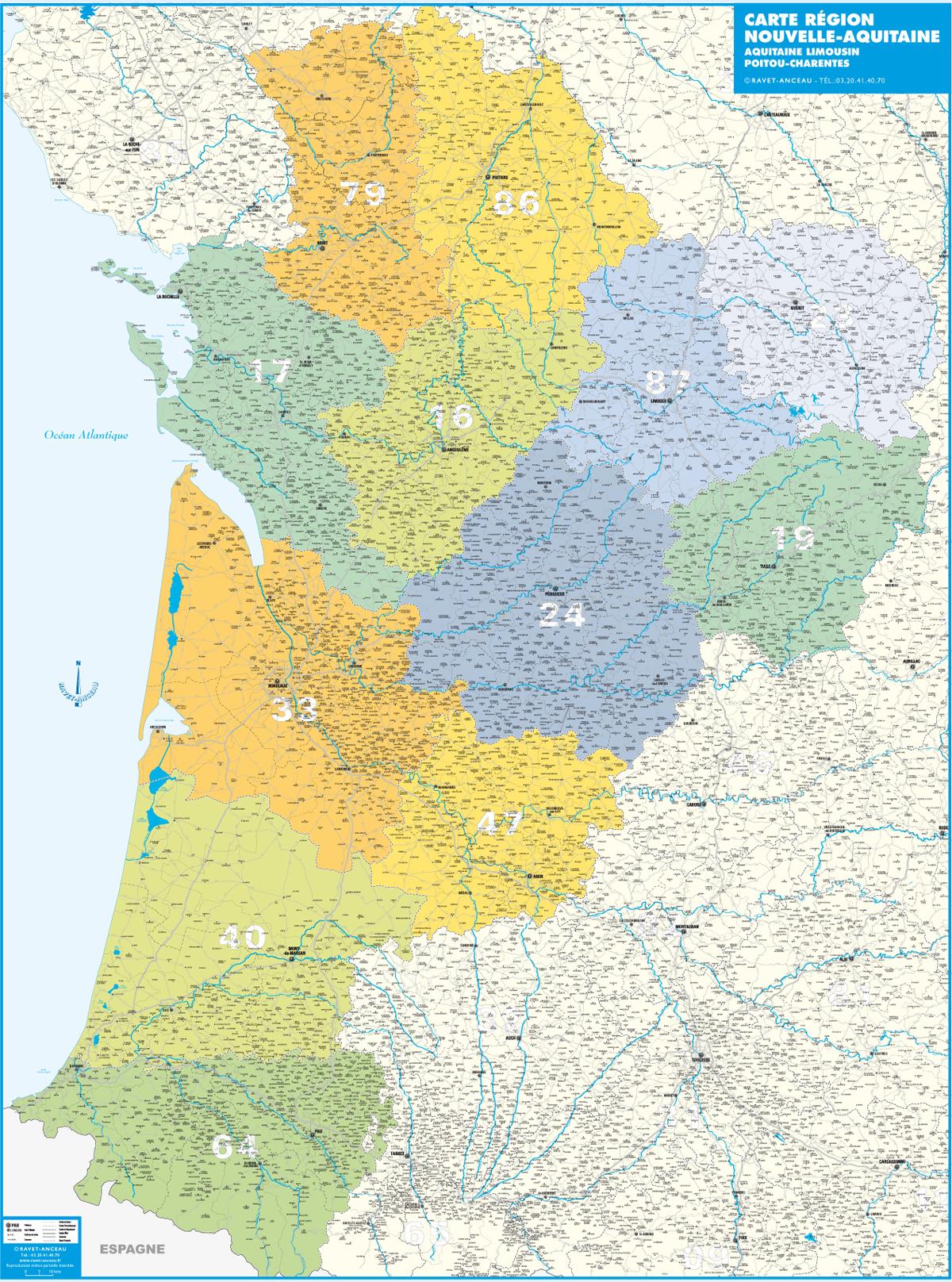 Aquitaine Carte pour Nouvelle Carte Region