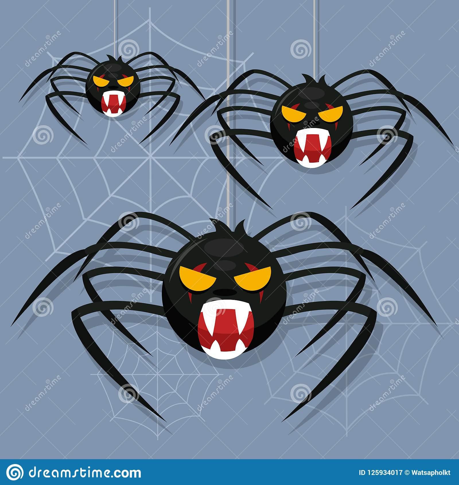 Araignée Effrayante Avec La Toile D'araignée Caractère D dedans Dessiner Une Araignee