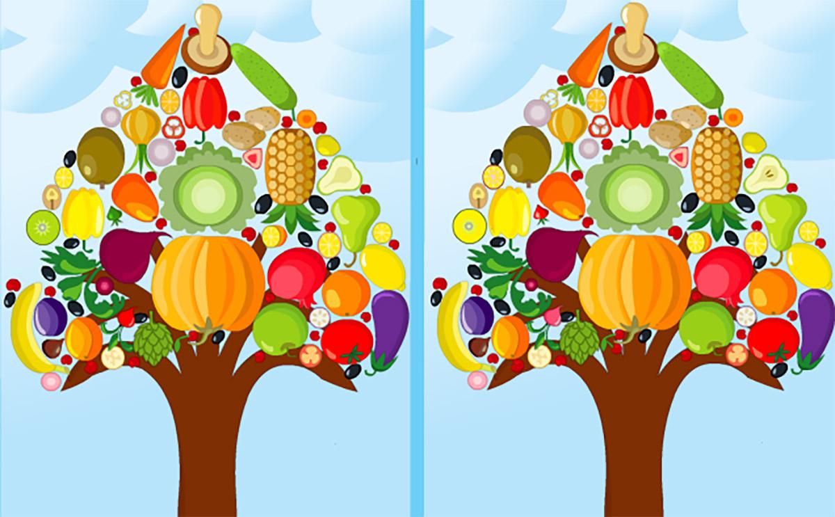 Arbre À Légumes - Différences - Jouez Gratuitement À Arbre À dedans Jeux De Différence