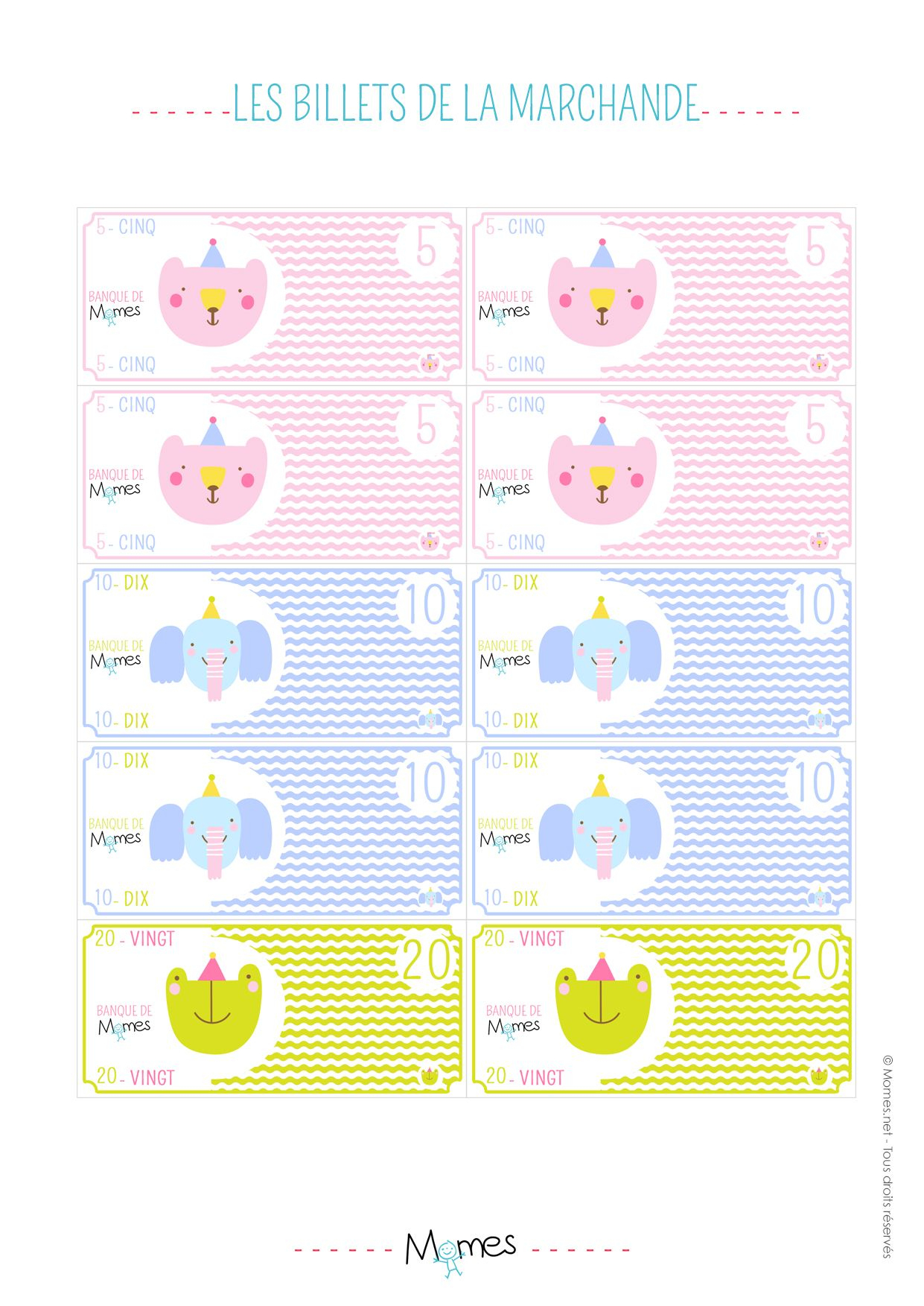 Argent À Imprimer Pour Jouer À La Marchande | Jouer À La concernant Billets Et Pièces En Euros À Imprimer