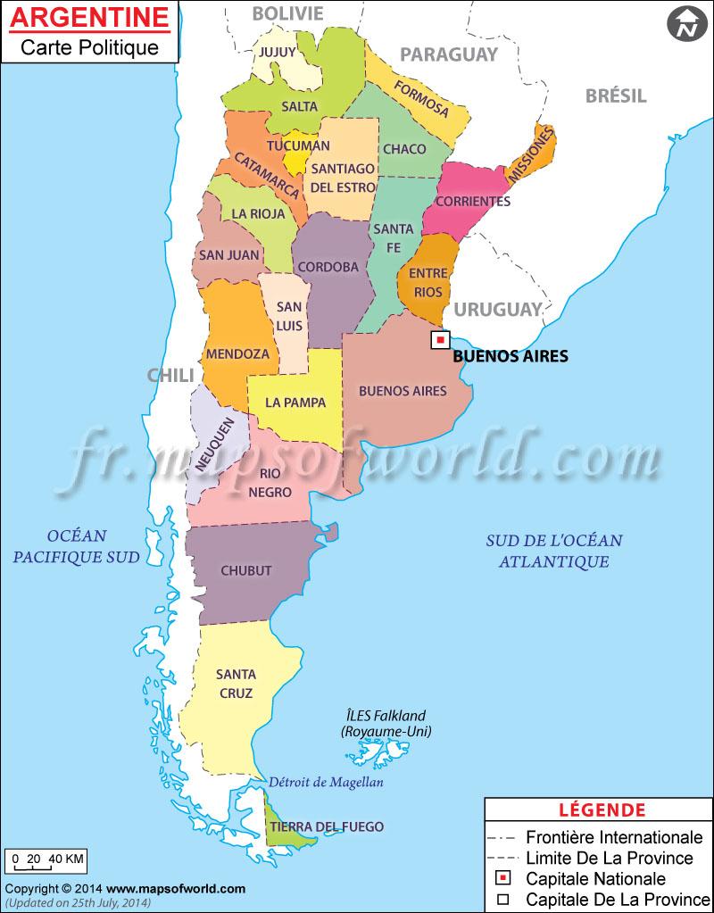 Argentine Carte avec Carte D Europe En Francais