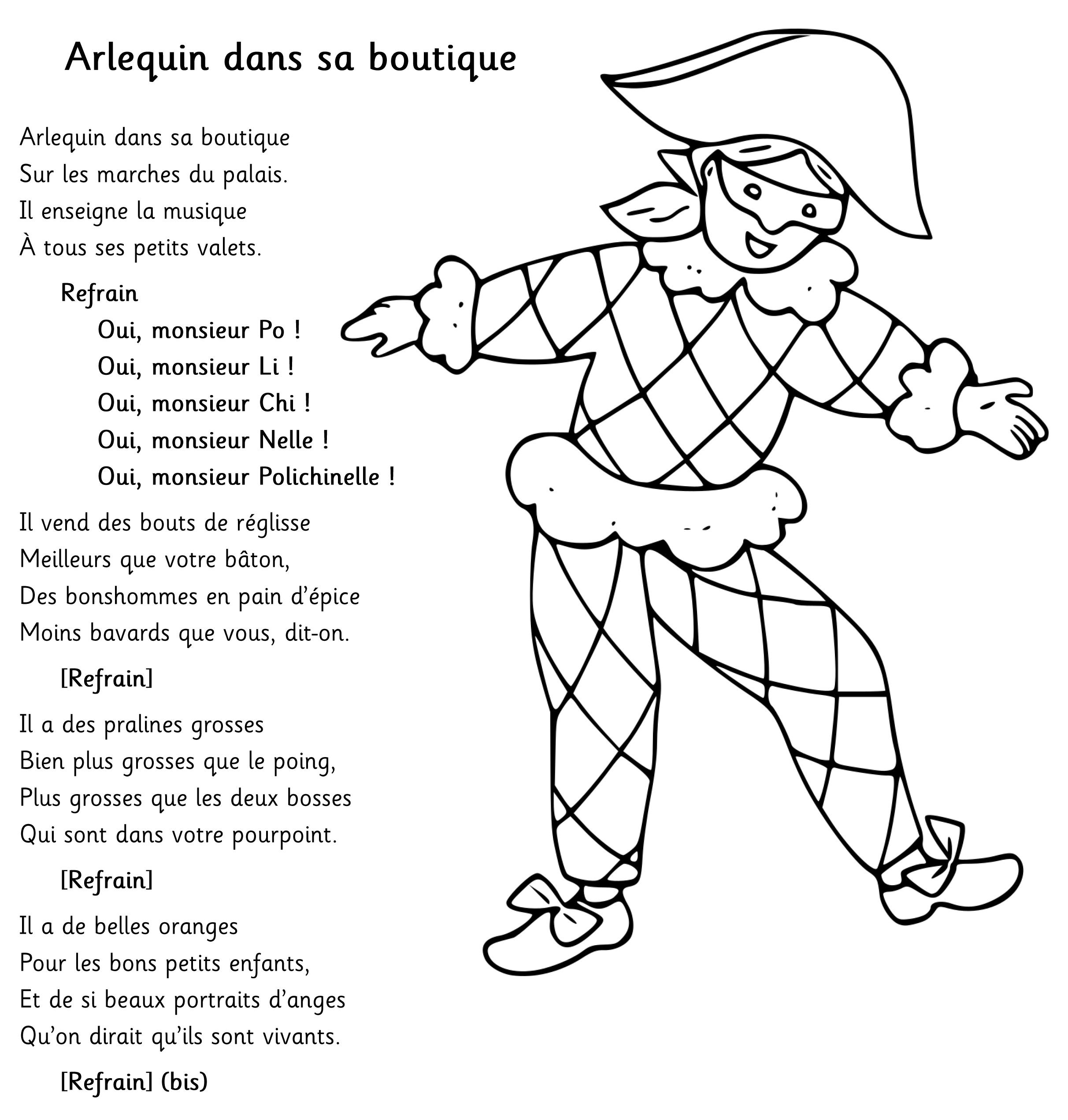 Arlequin En Maternelle - Projet Pluridisciplinaire ~ La dedans Arlequin A Colorier