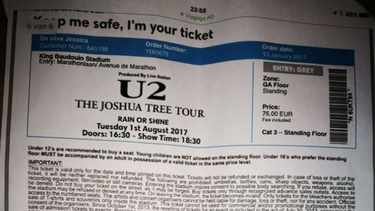 Arnaque Aux Faux Tickets De Concert De U2: Les Faussaires serapportantà Faux Billet A Imprimer