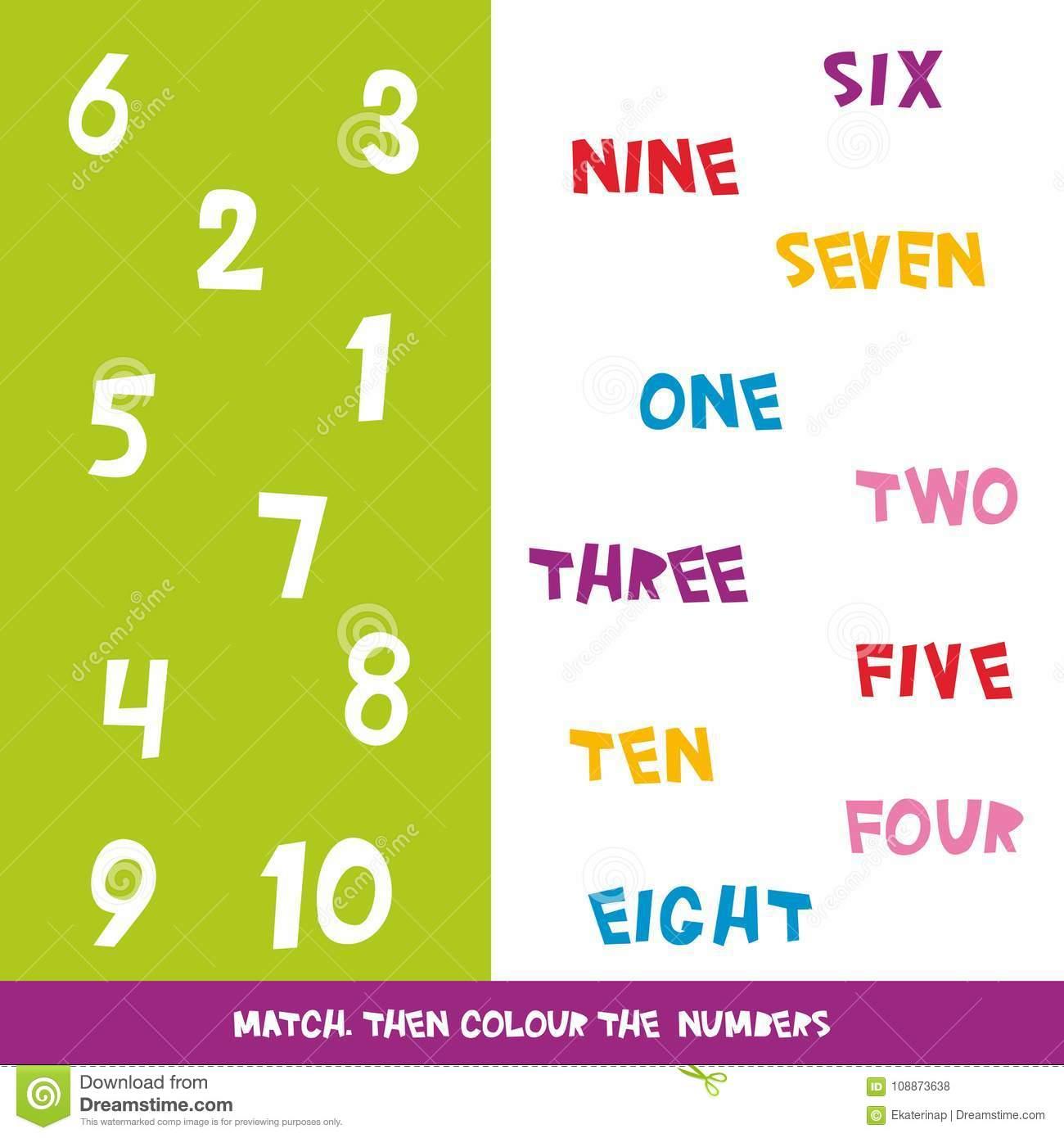 Assortissez Alors La Couleur Les Numéros 1 10 Les Enfants serapportantà Jeux Apprendre Les Couleurs