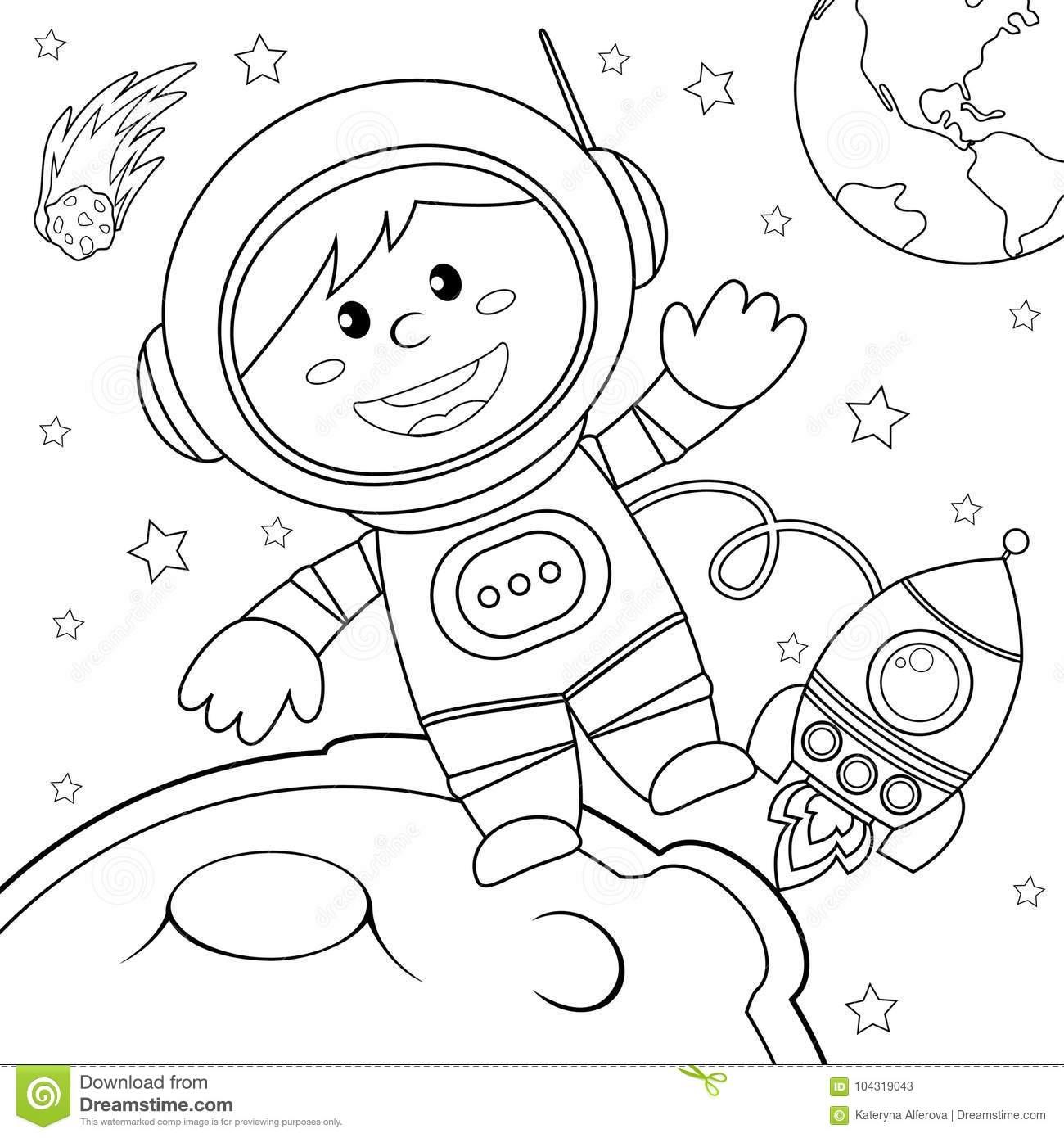 Astronaute Dans L'espace Illustration Noire Et Blanche De encequiconcerne Coloriage Astronaute