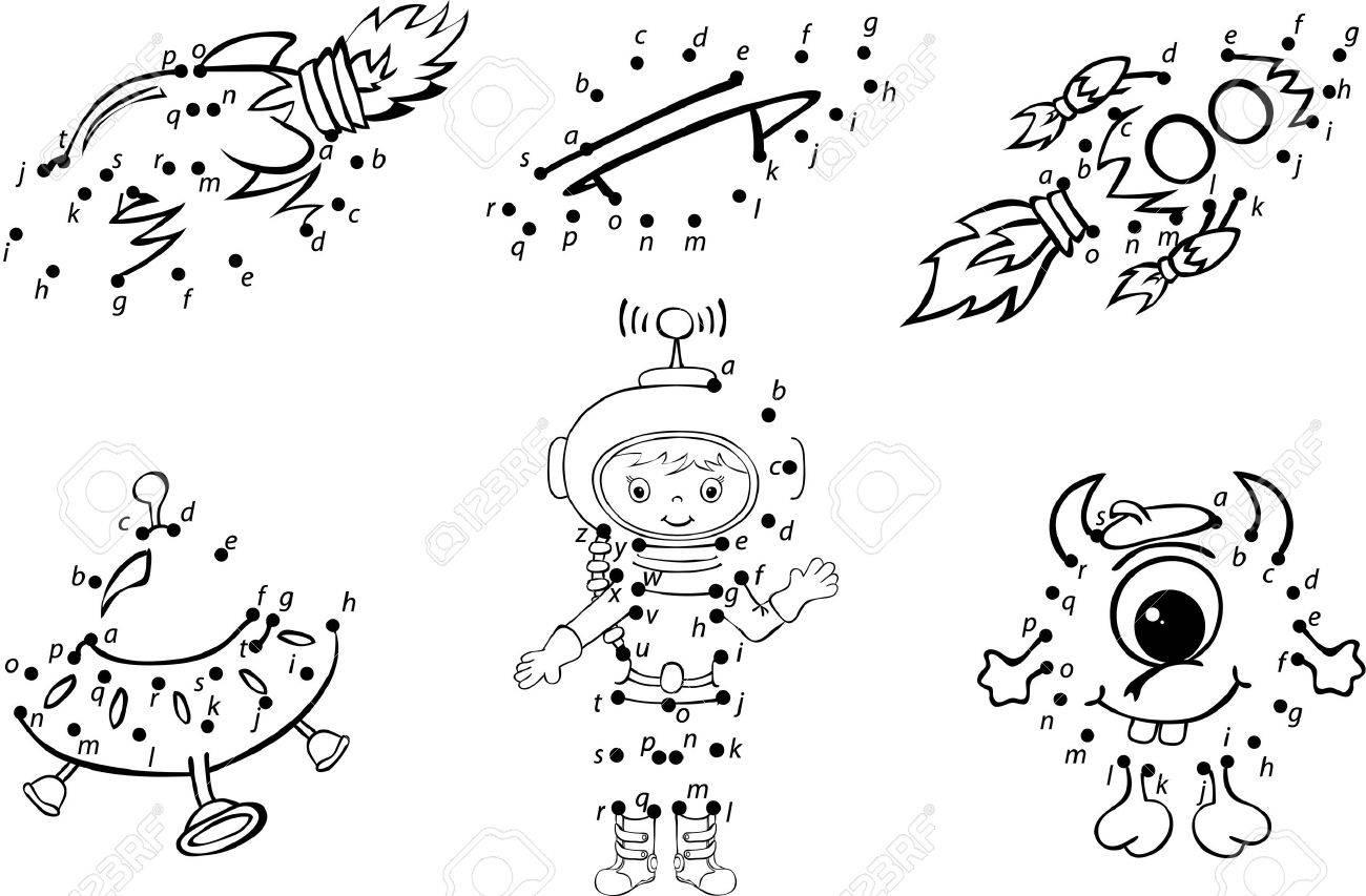Astronaute De Bande Dessinée, Alien, Des Fusées Et Des Planètes. Vector  Illustration. Coloriage Et Point À Point Jeu Éducatif Pour Les Enfants encequiconcerne Coloriage Astronaute