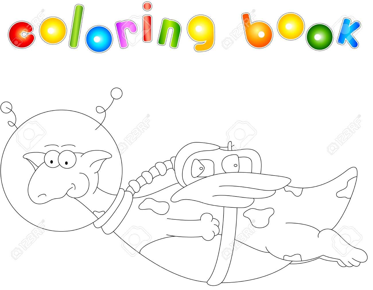 Astronaute Dragon De Dessin Animé. Livre De Coloriage Pour Les Enfants  Isolés Sur Blanc intérieur Coloriage Astronaute