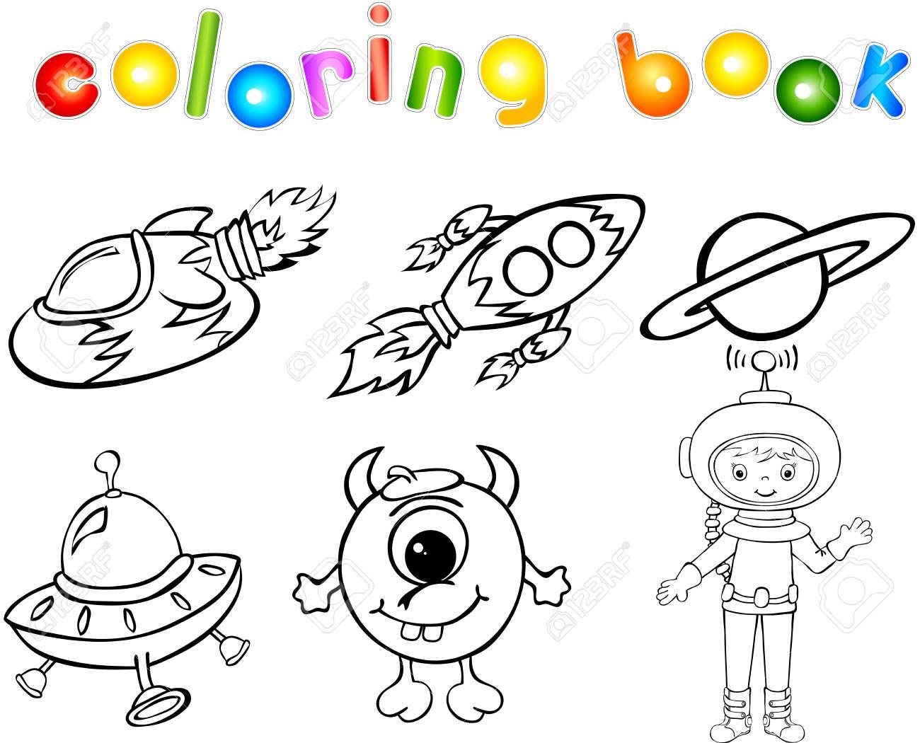 Astronaute, Fusées, Alien Et La Planète. Livre De Coloriage pour Coloriage Astronaute