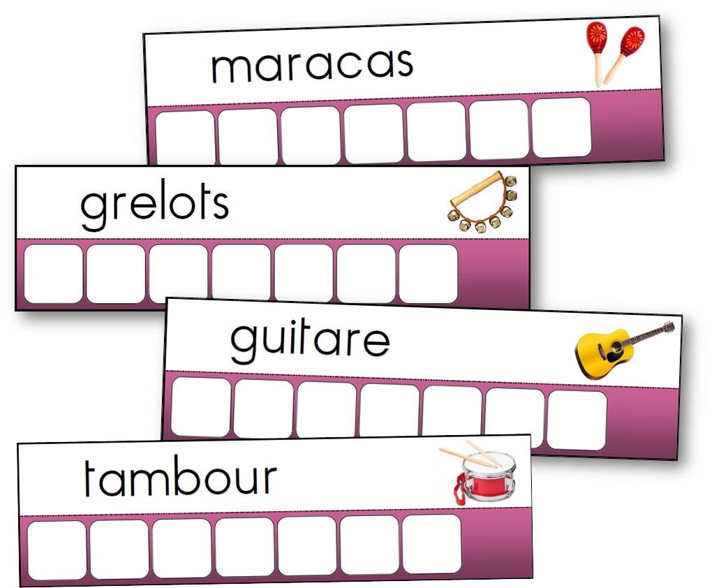 Atelier Des Mots Des Instruments De Musique - Mots À intérieur Mots Coupés À Imprimer