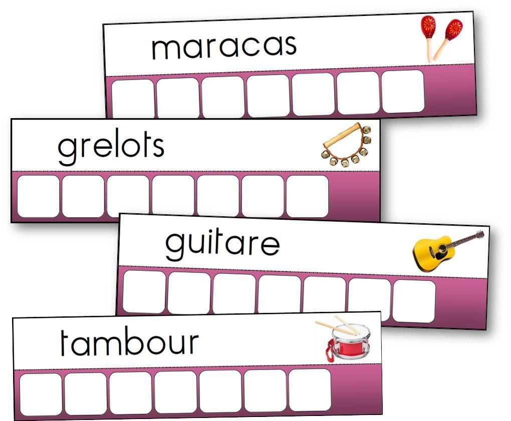 Atelier-Des-Mots-Instruments-De-Musique pour Ecriture Maternelle Moyenne Section A Imprimer