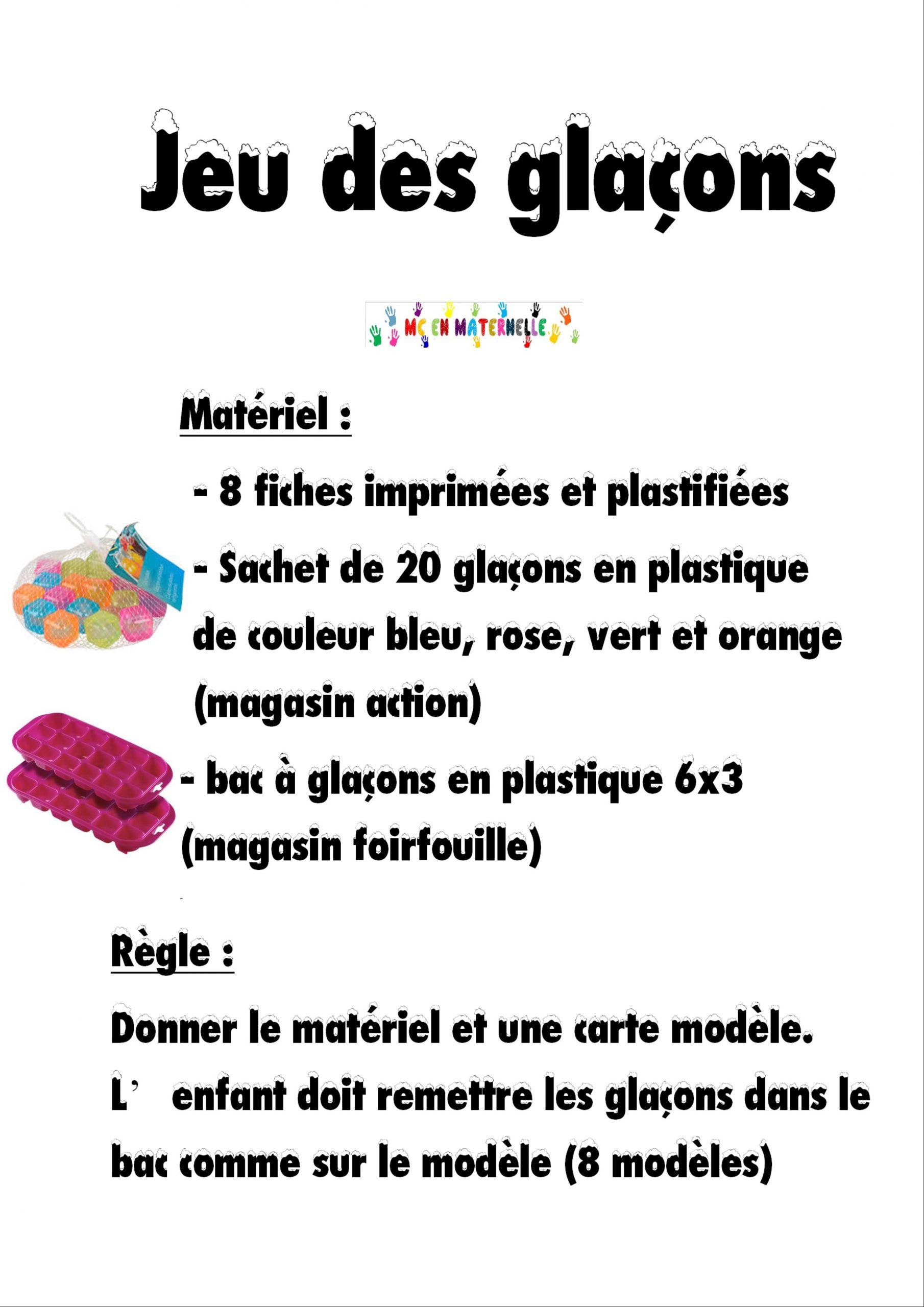 Atelier Individuel De Manipulation : Jeu Des Glaçons – Mc En serapportantà Jeux Enfant Maternelle